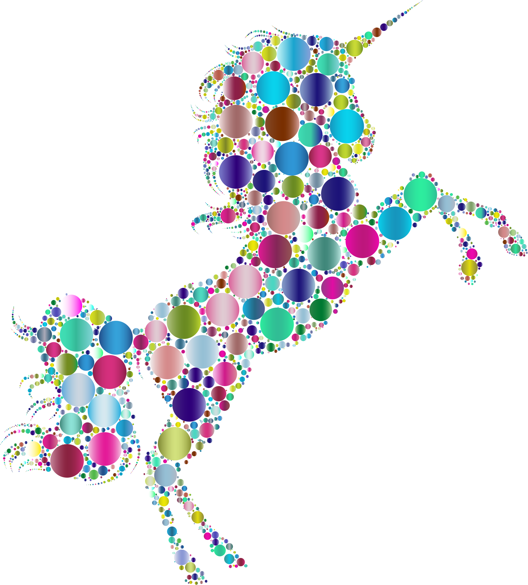 Prismatic Unicorn Silhouette 2 Circles 5 No Background by GDJ