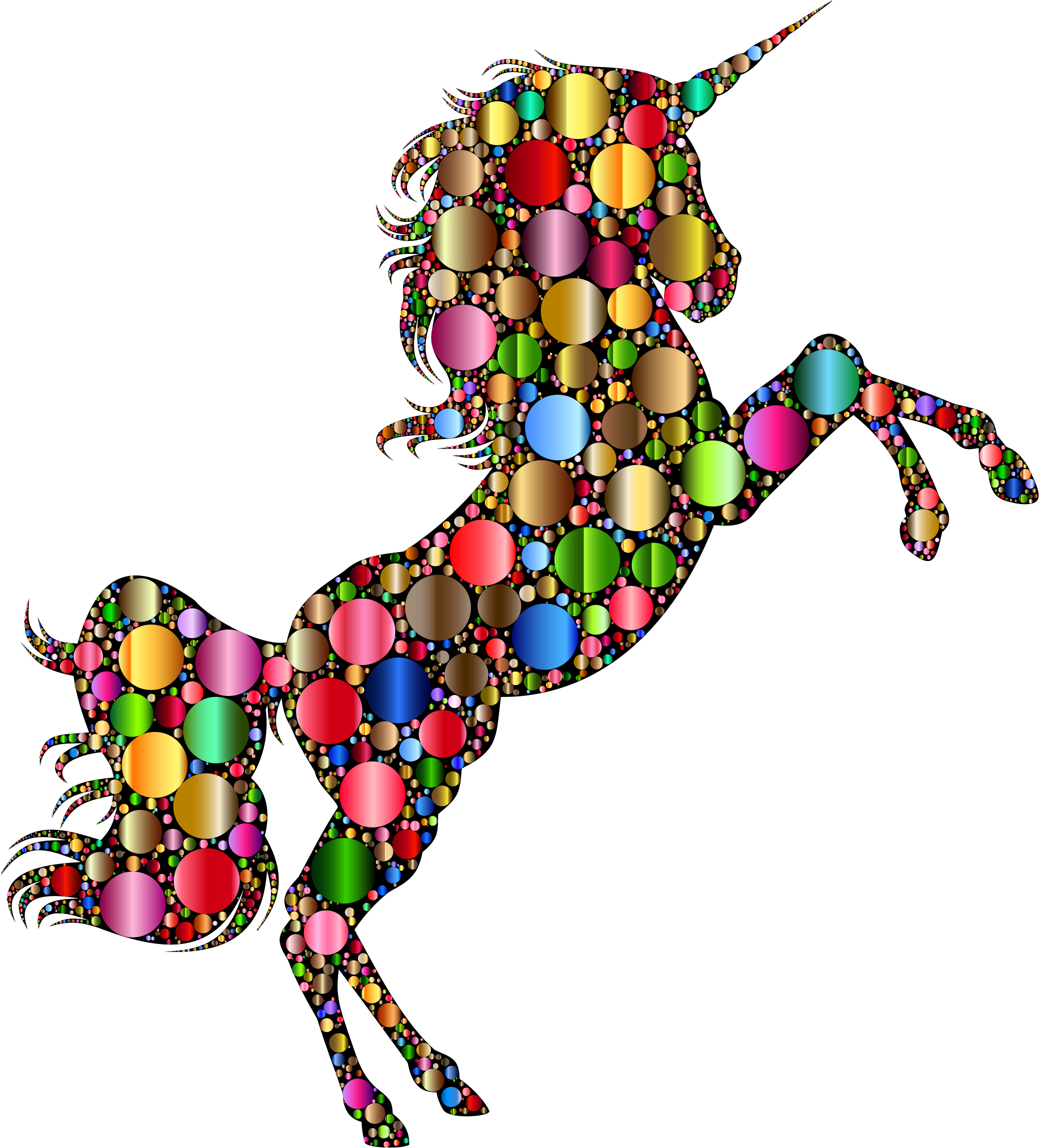 Prismatic Unicorn Silhouette 2 Circles 6 by GDJ