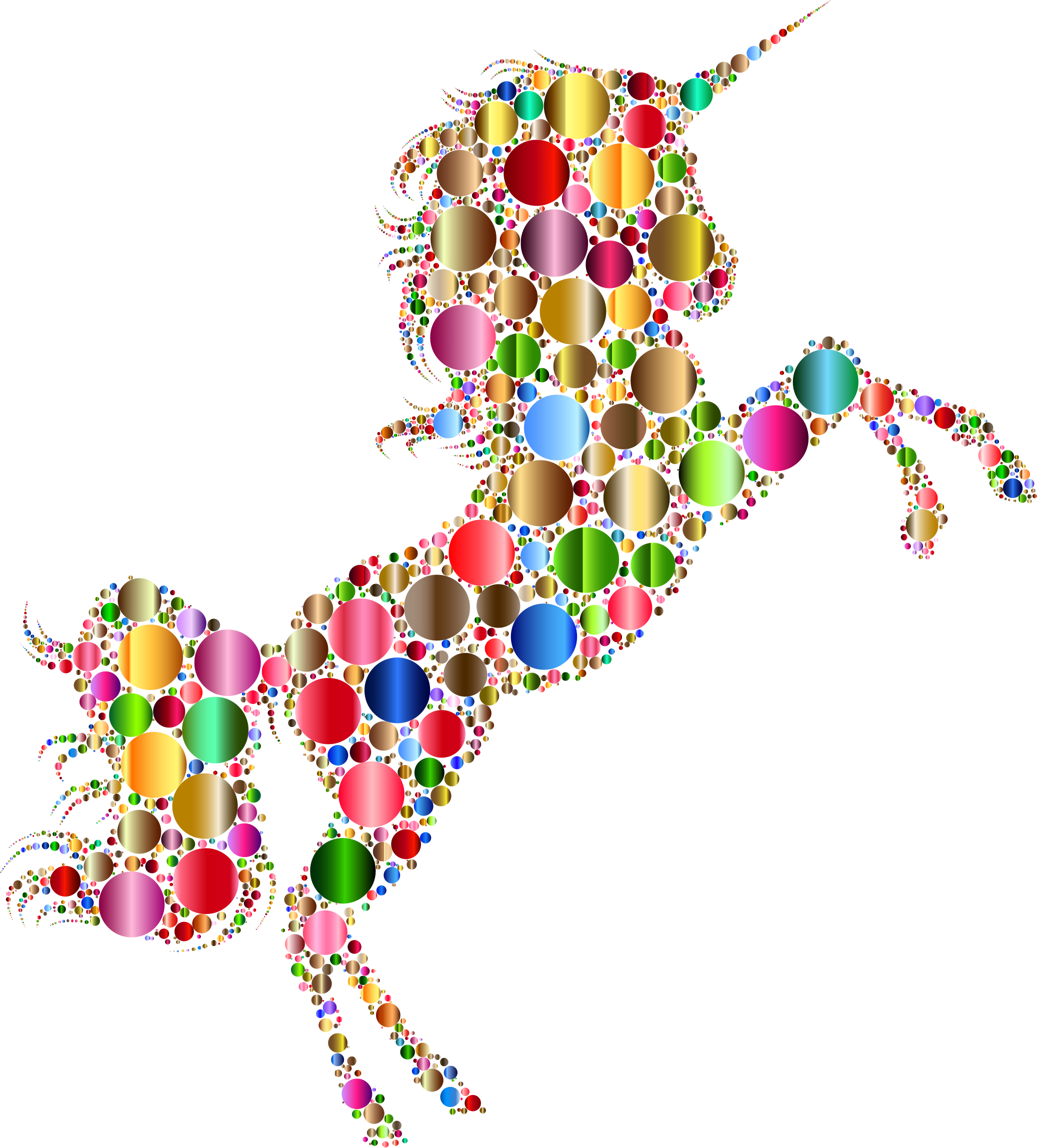 Prismatic Unicorn Silhouette 2 Circles 6 No Background by GDJ