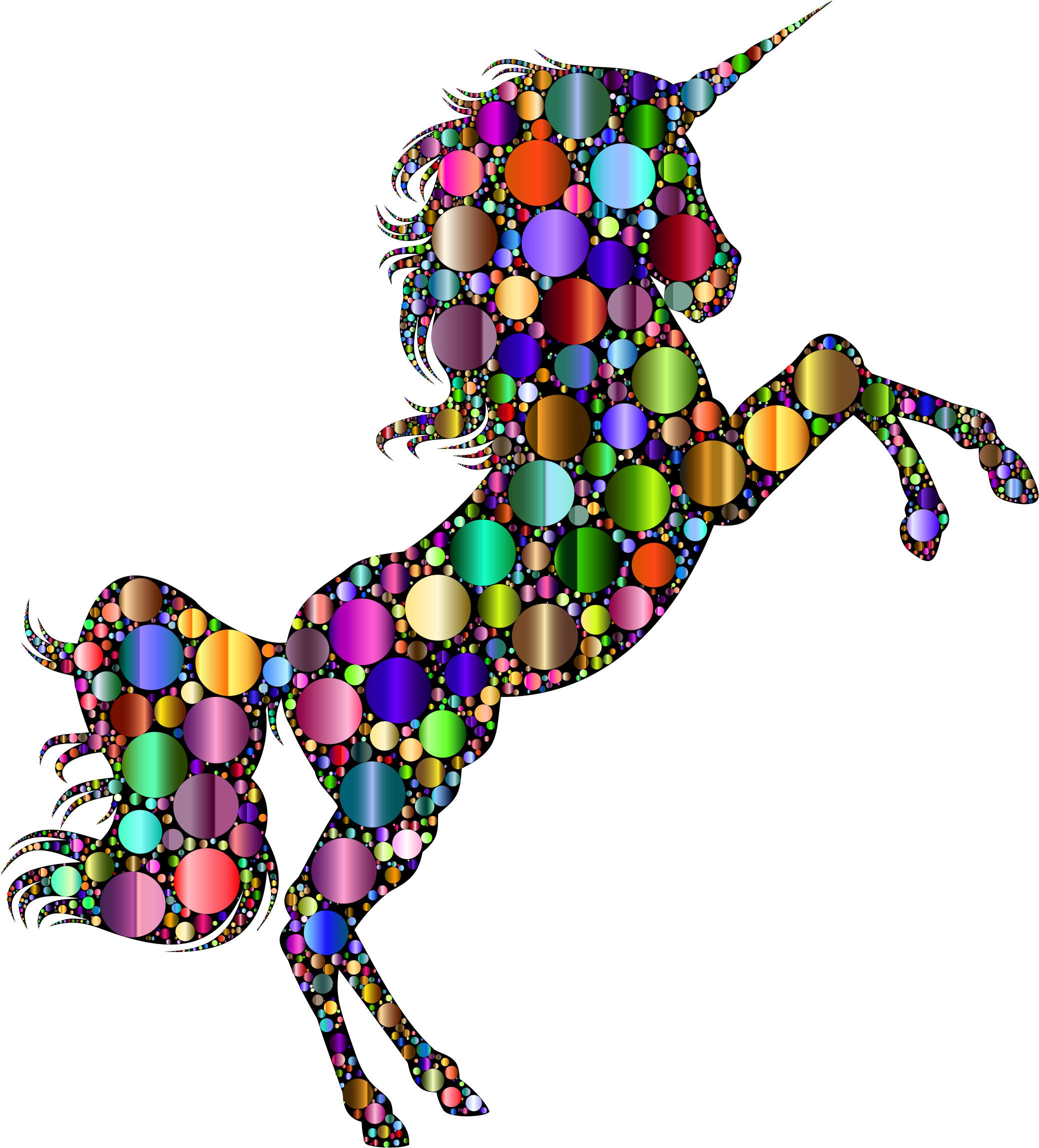 Prismatic Unicorn Silhouette 2 Circles 7 by GDJ