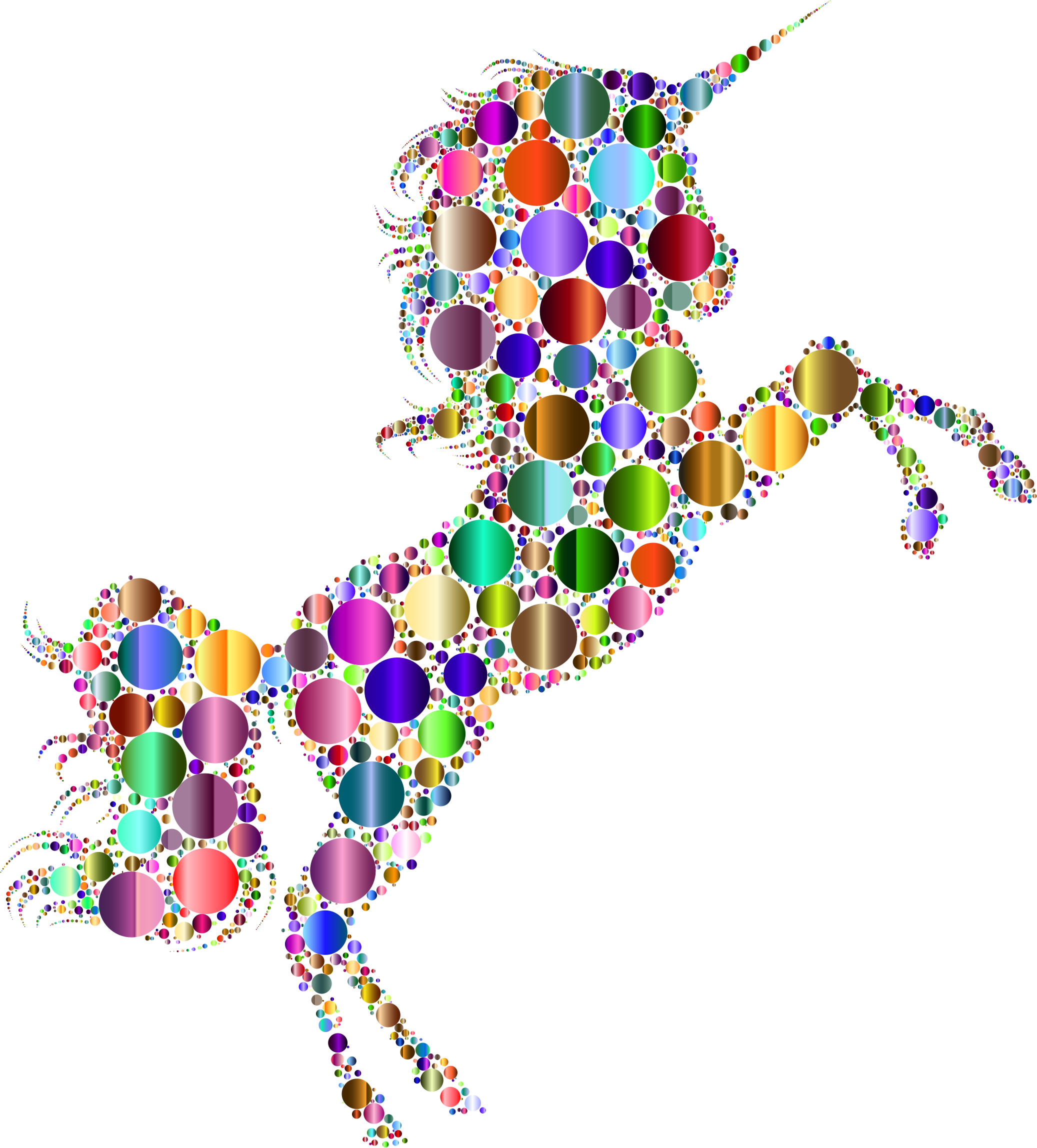 Prismatic Unicorn Silhouette 2 Circles 7 No Background by GDJ