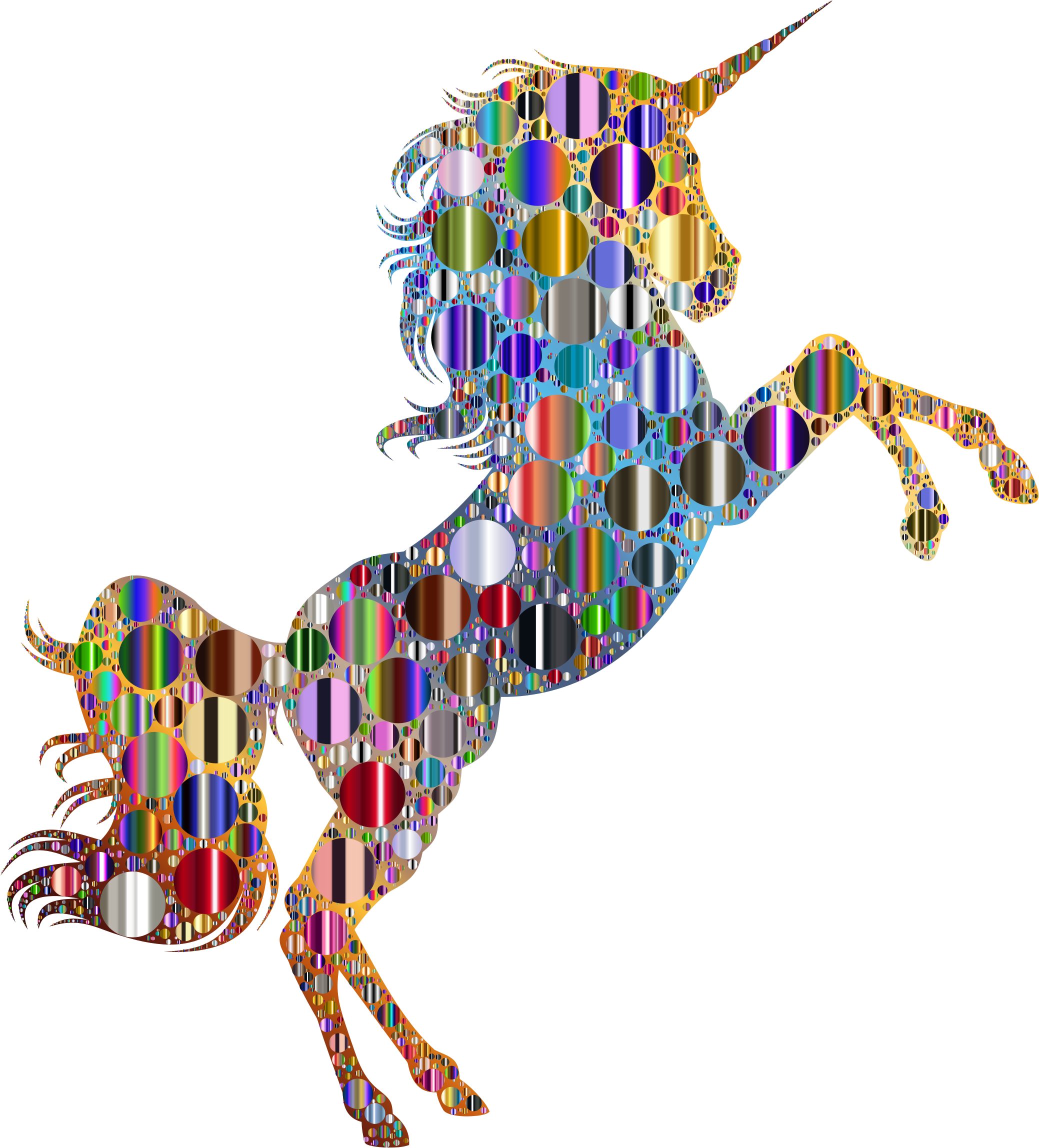 Prismatic Unicorn Silhouette 2 Circles 8 Variation 2 by GDJ