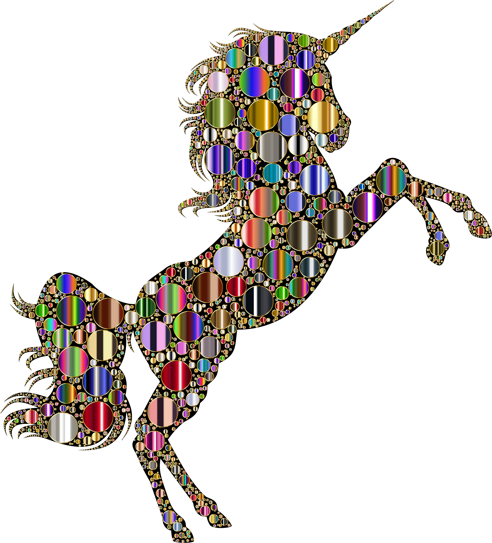 Prismatic Unicorn Silhouette 2 Circles 8 Variation 3 by GDJ