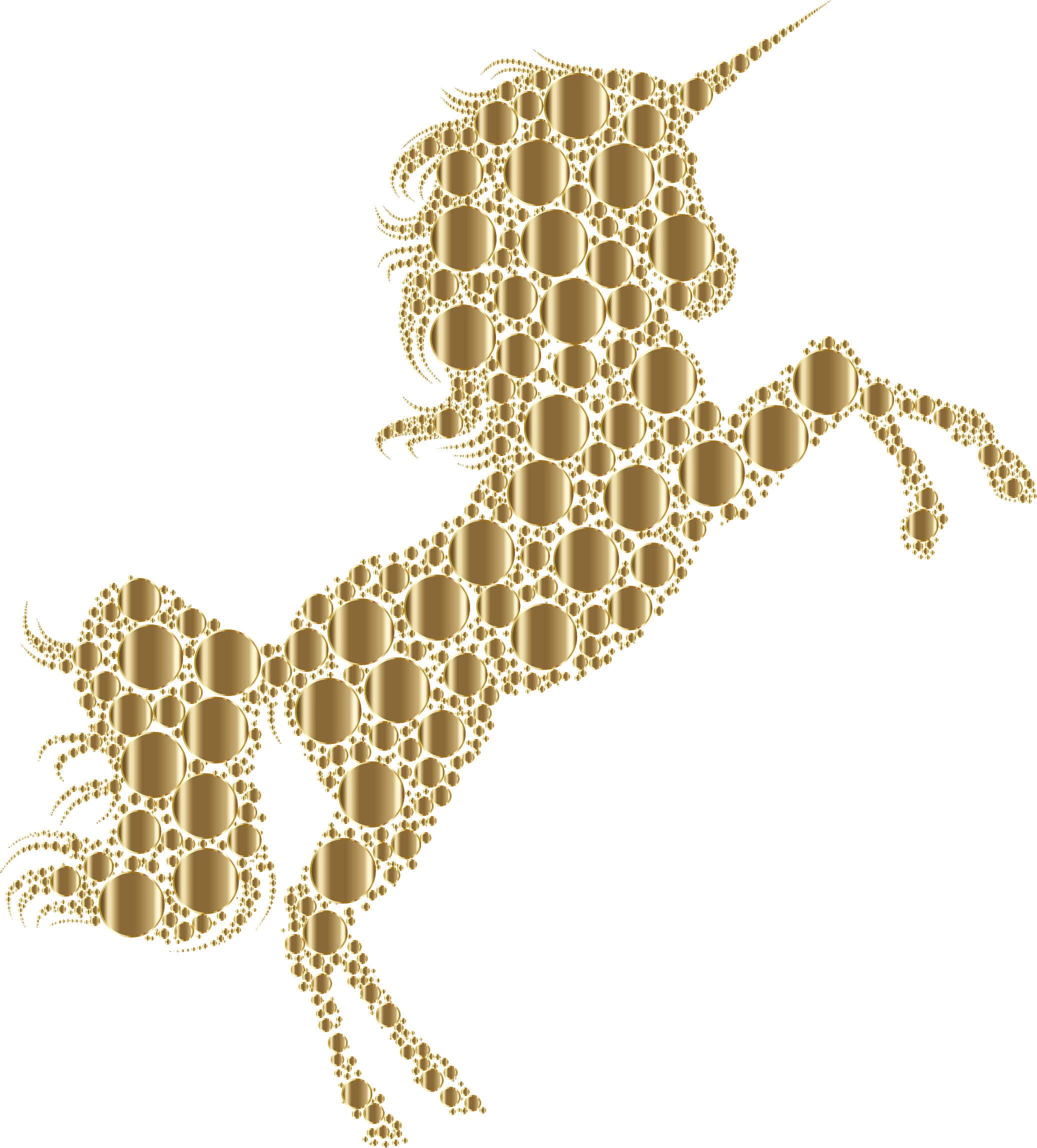 Gold Unicorn Silhouette 2 Circles No Background by GDJ