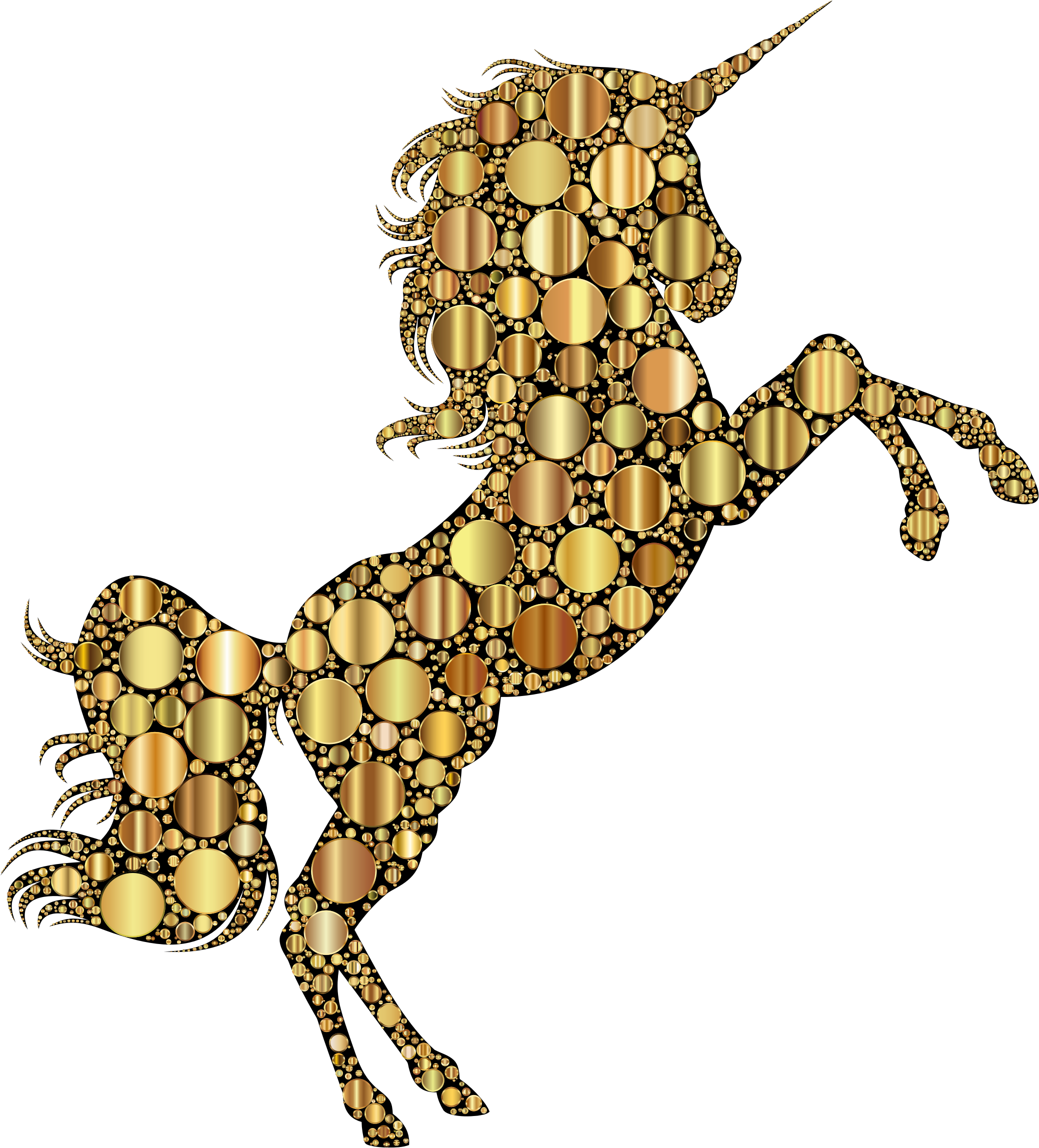 Gold Unicorn Silhouette 2 Circles 2 by GDJ