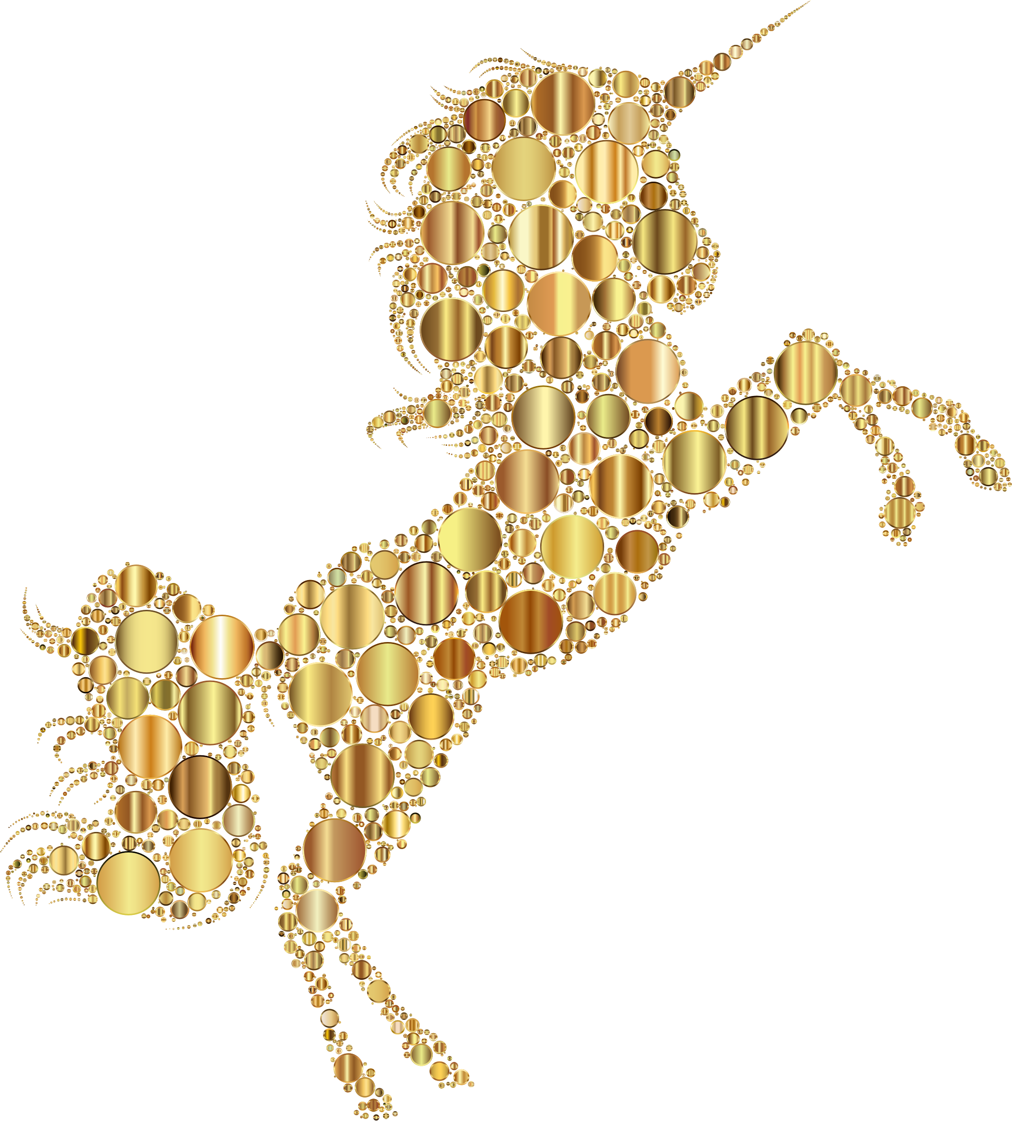 Gold Unicorn Silhouette 2 Circles 2 No Background by GDJ