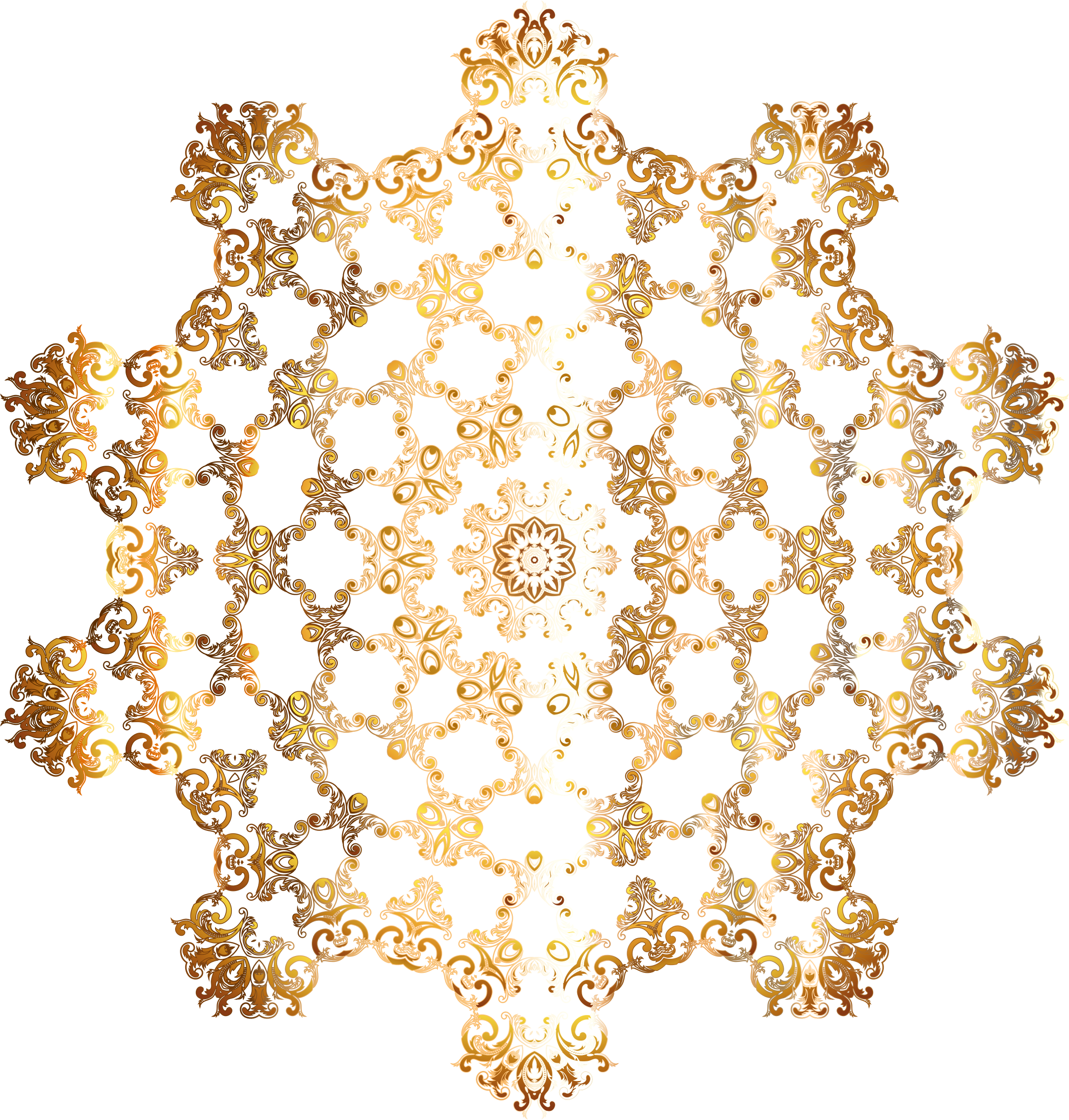 Gold Vintage Floral Design Mark II 22 No Background by GDJ