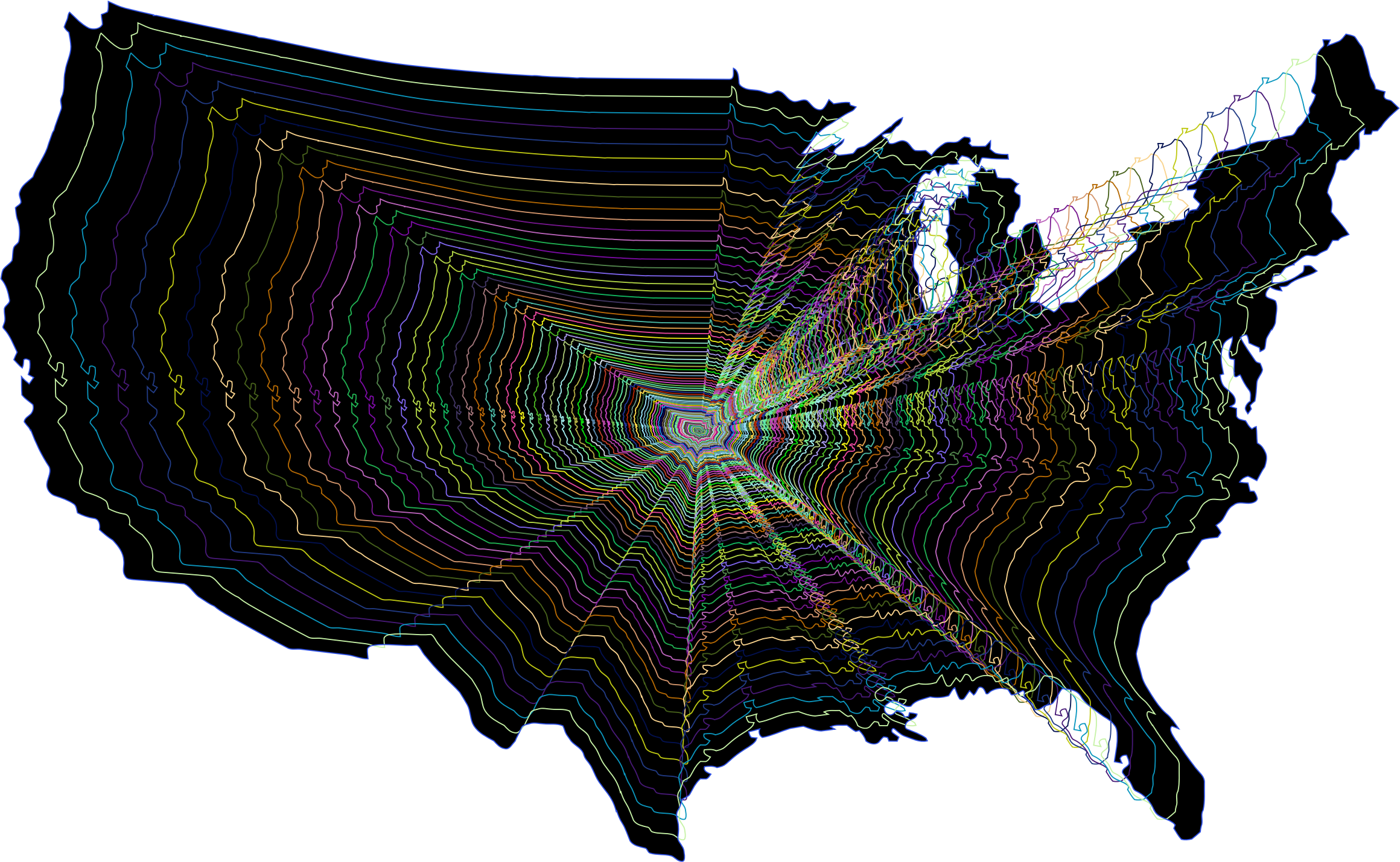 Prismatic US Map Outline Zoom by GDJ
