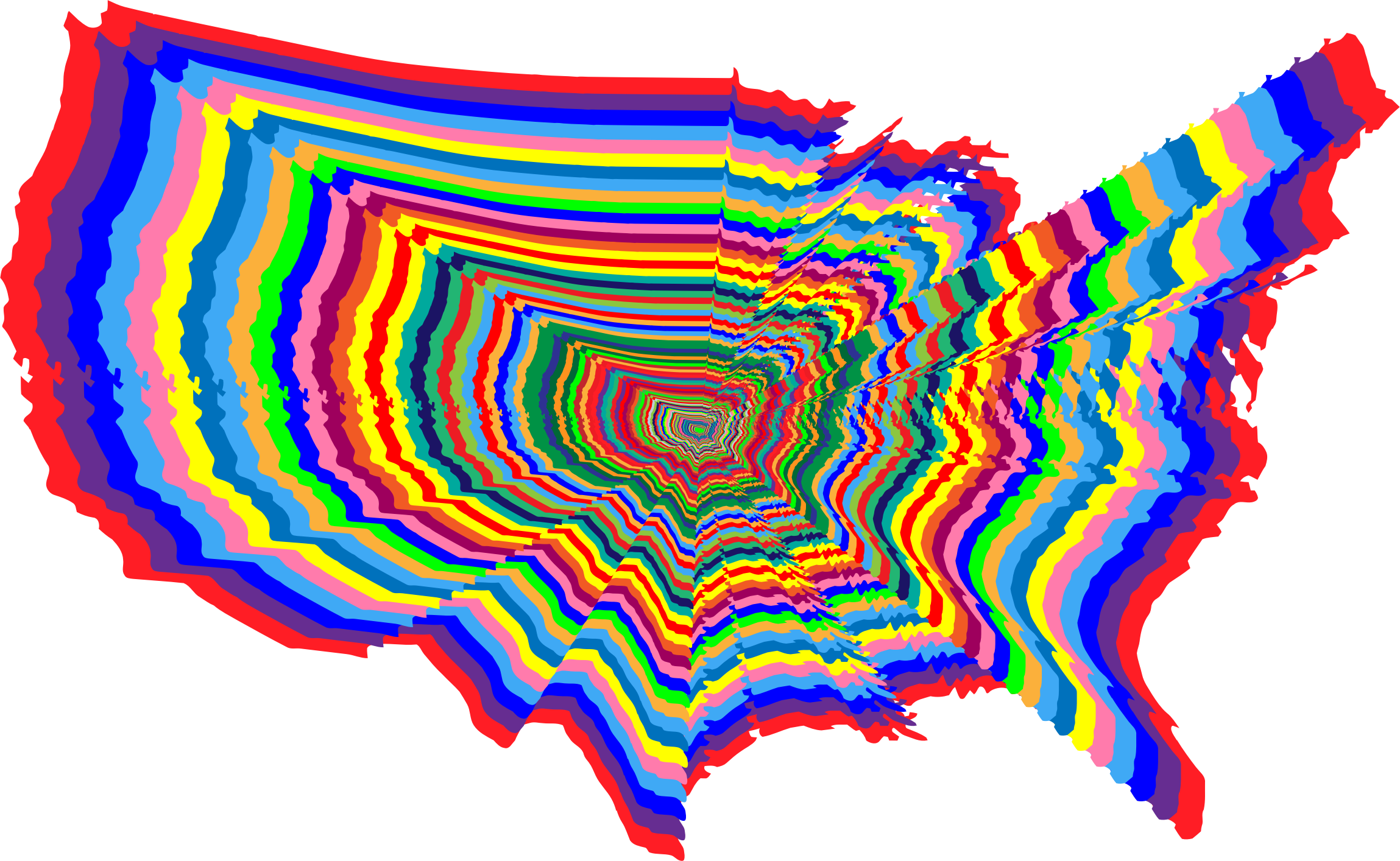 Prismatic US Map Outline Zoom 2 by GDJ