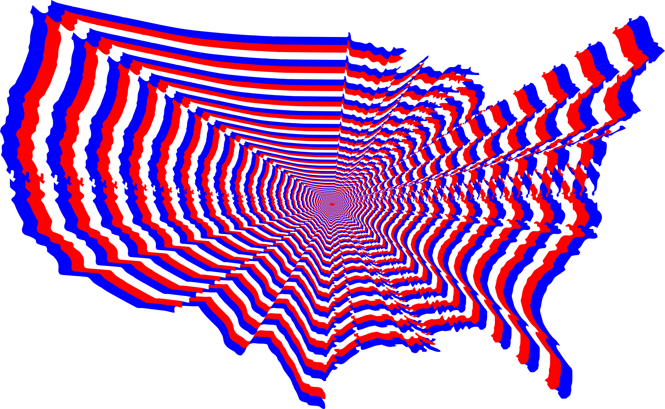 Red White And Blue US Map Outline Zoom by GDJ
