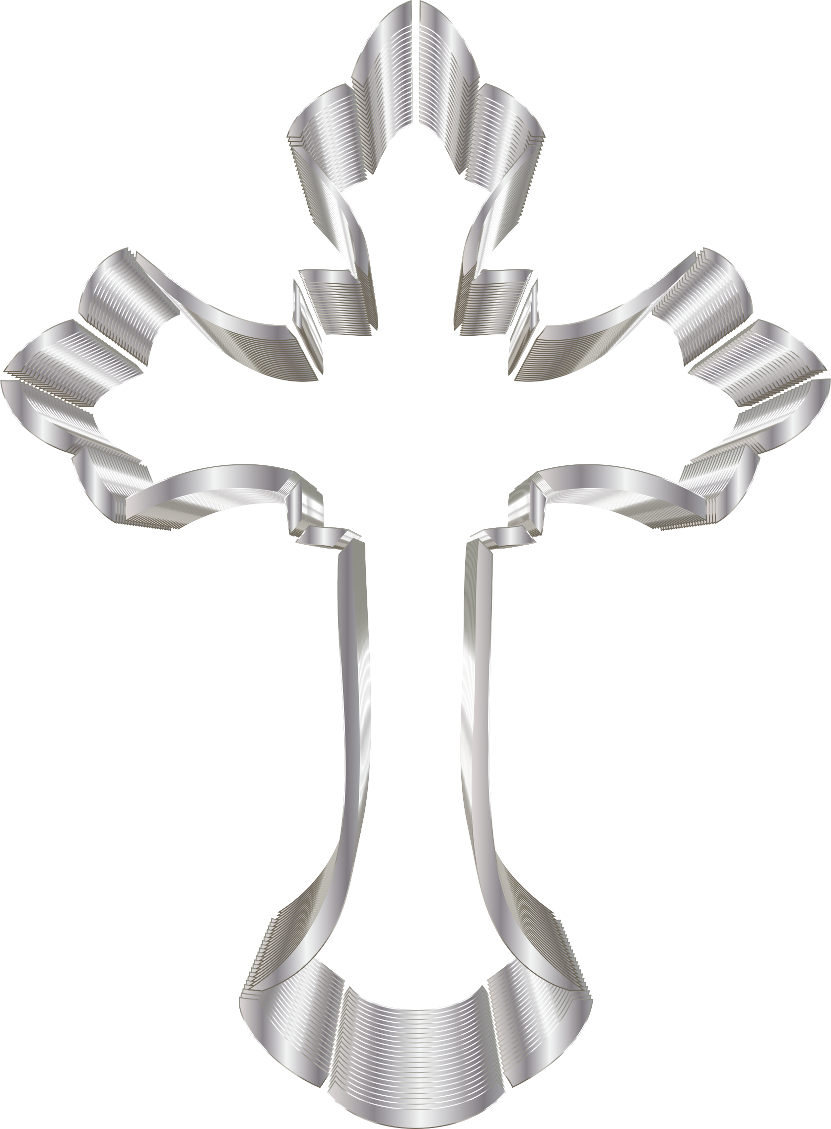 Clipart - Silver Ornate Cross No Background