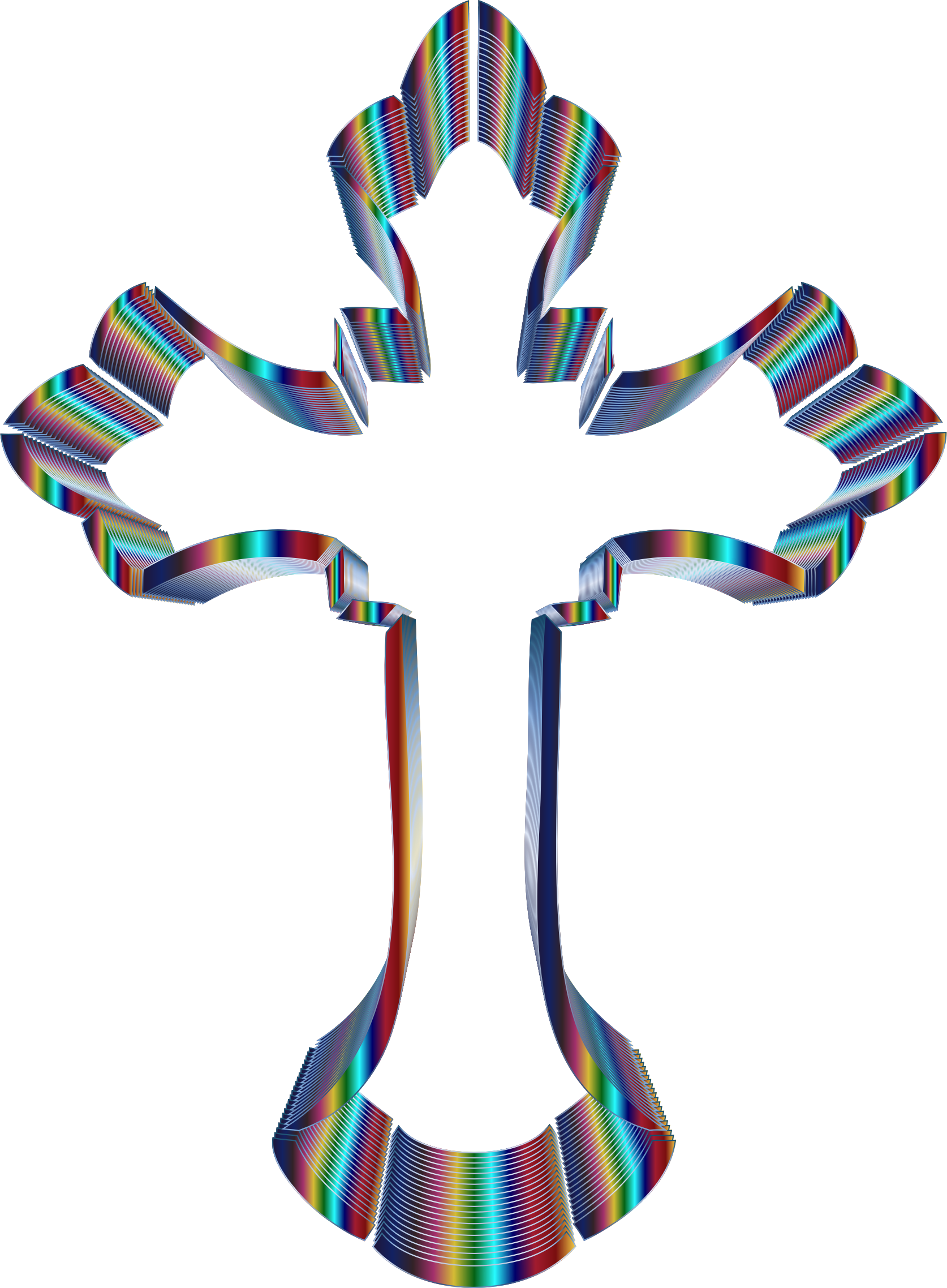 Iridescent Ornate Cross No Background by GDJ