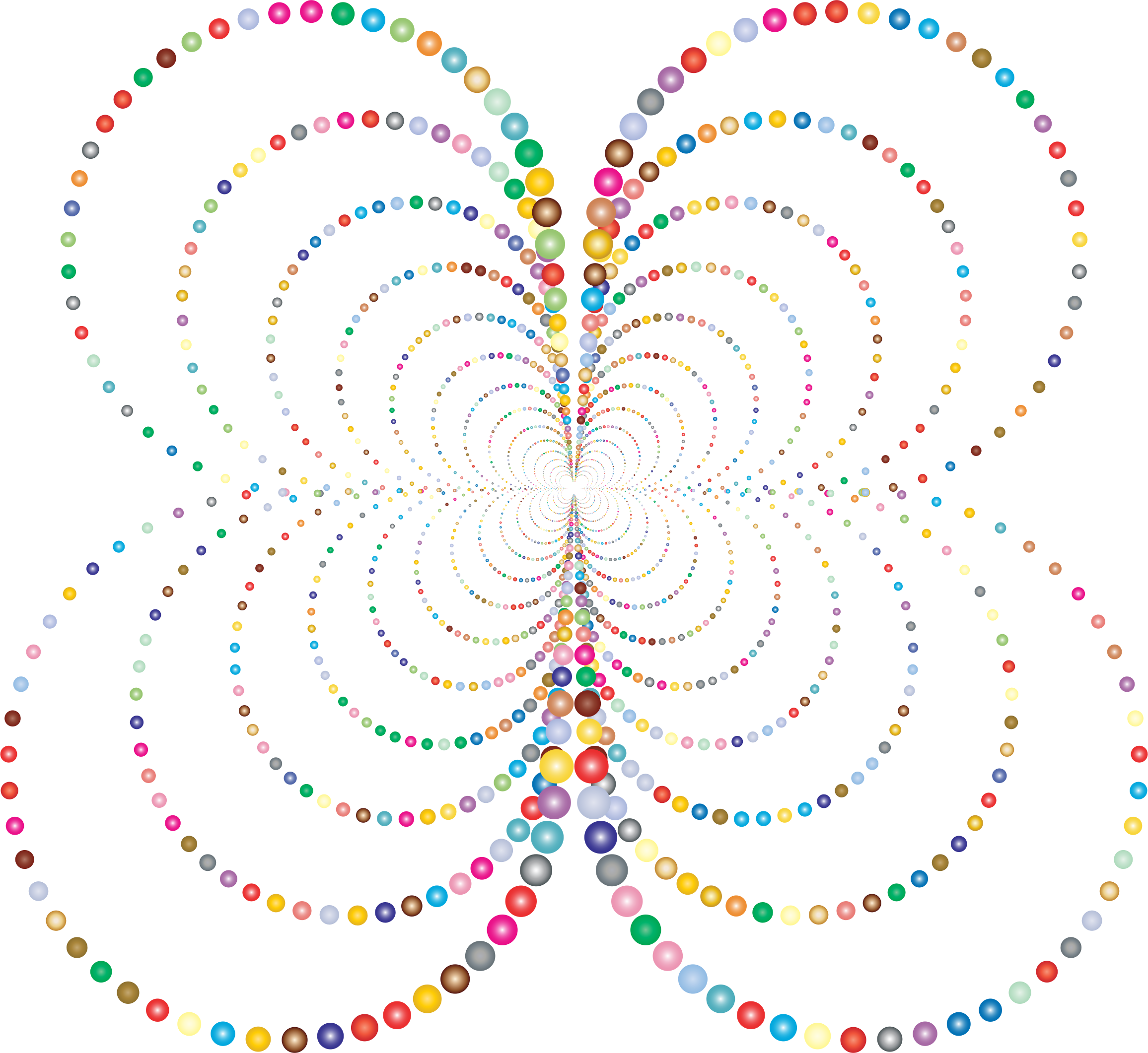 Prismatic Abstract Circles Butterfly 2 No Background by GDJ