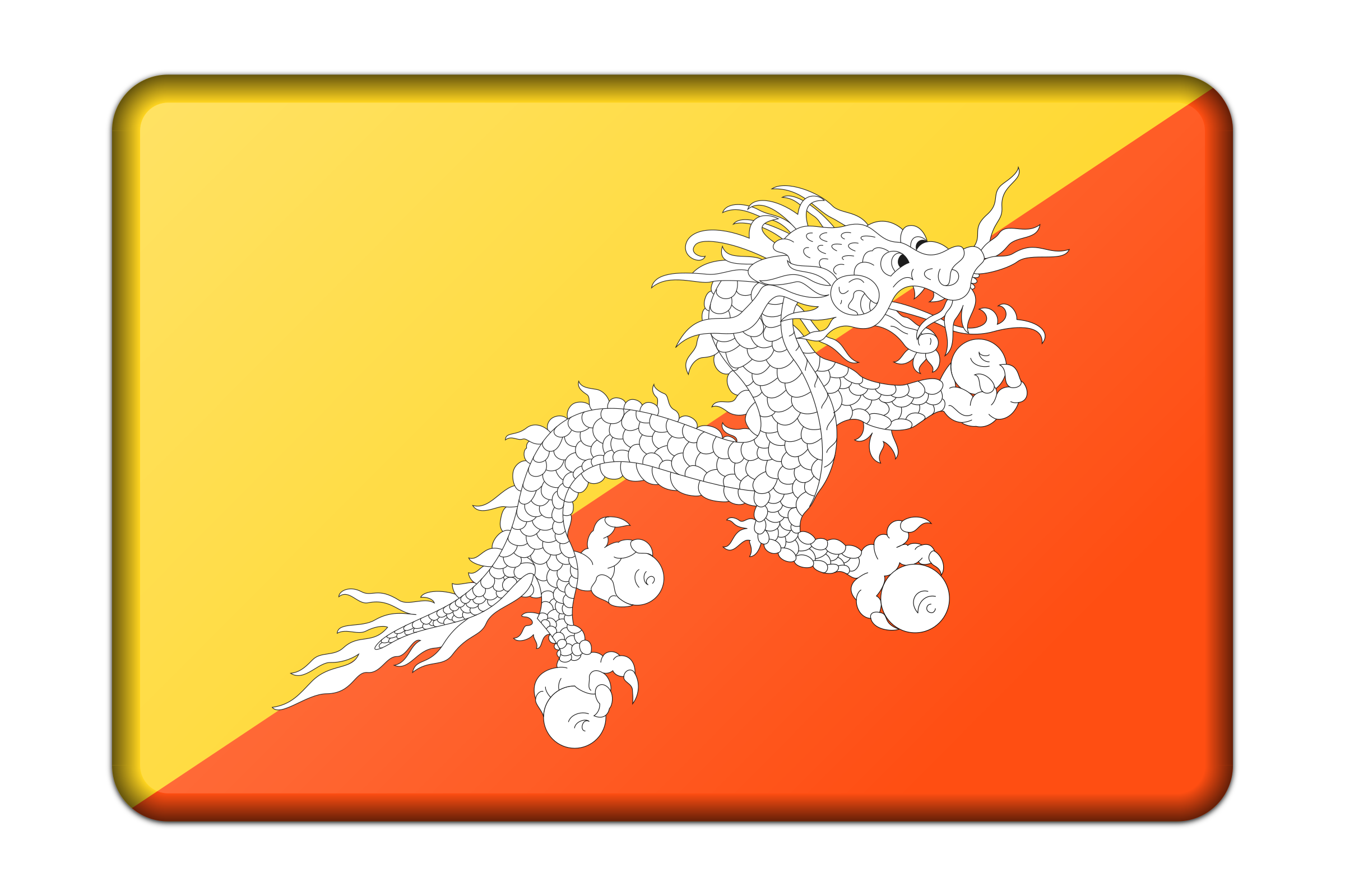 Bhutan flag (bevelled) by Firkin