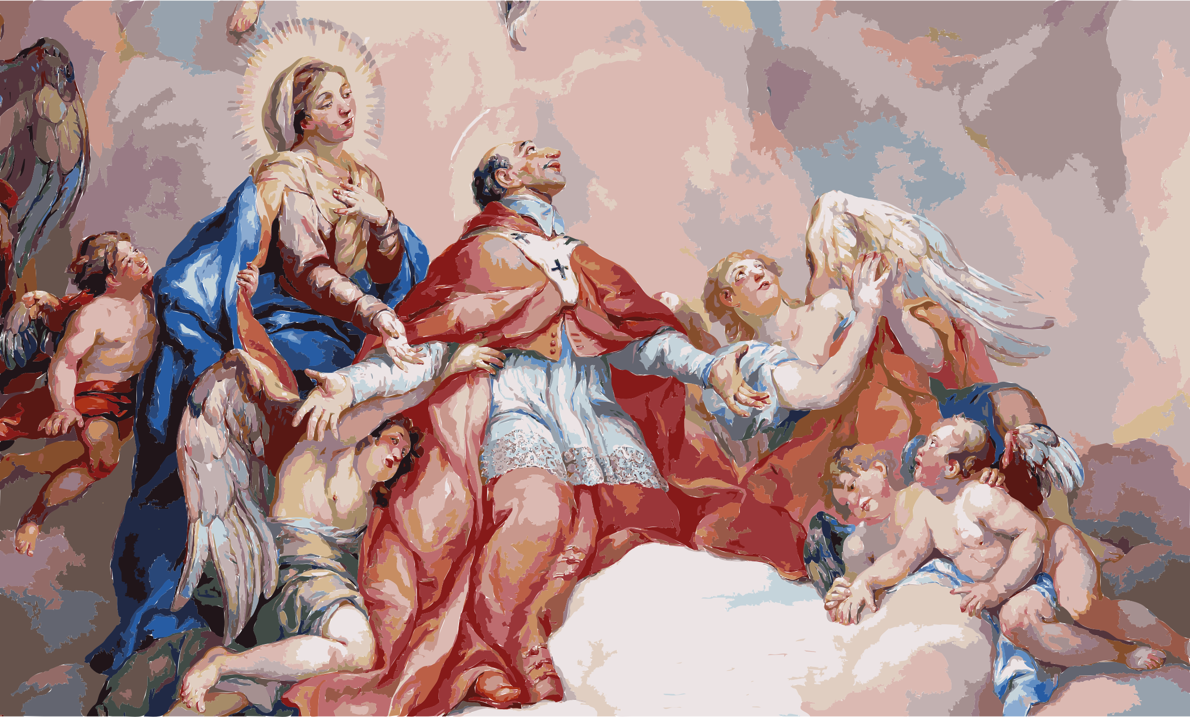 Intercession of Charles Borromeo supported by the Virgin Mary - Detail Rottmayr Fresco - Karlskirche - Vienna by 3we2nn+8w9uc0fun68aw