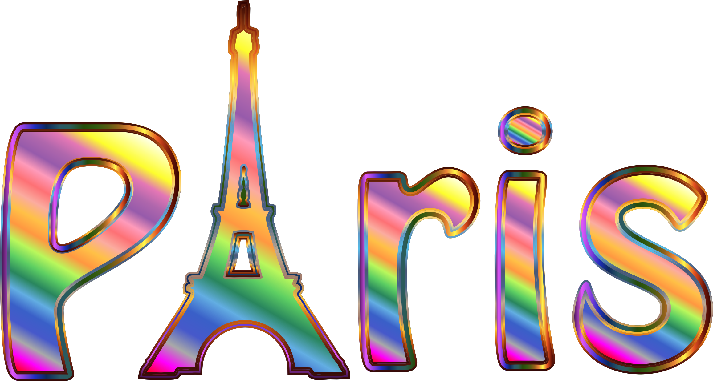 Prismatic Paris Typography No Background by GDJ