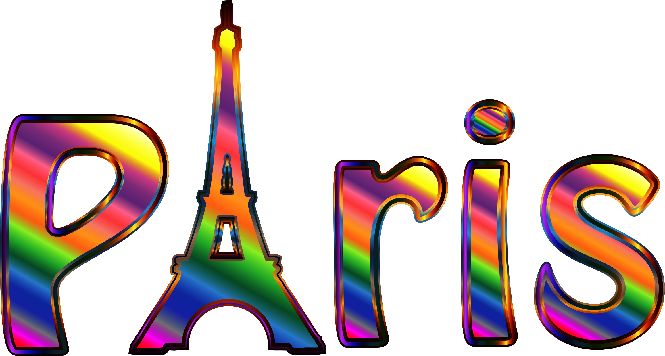 Prismatic Paris Typography Enhanced by GDJ