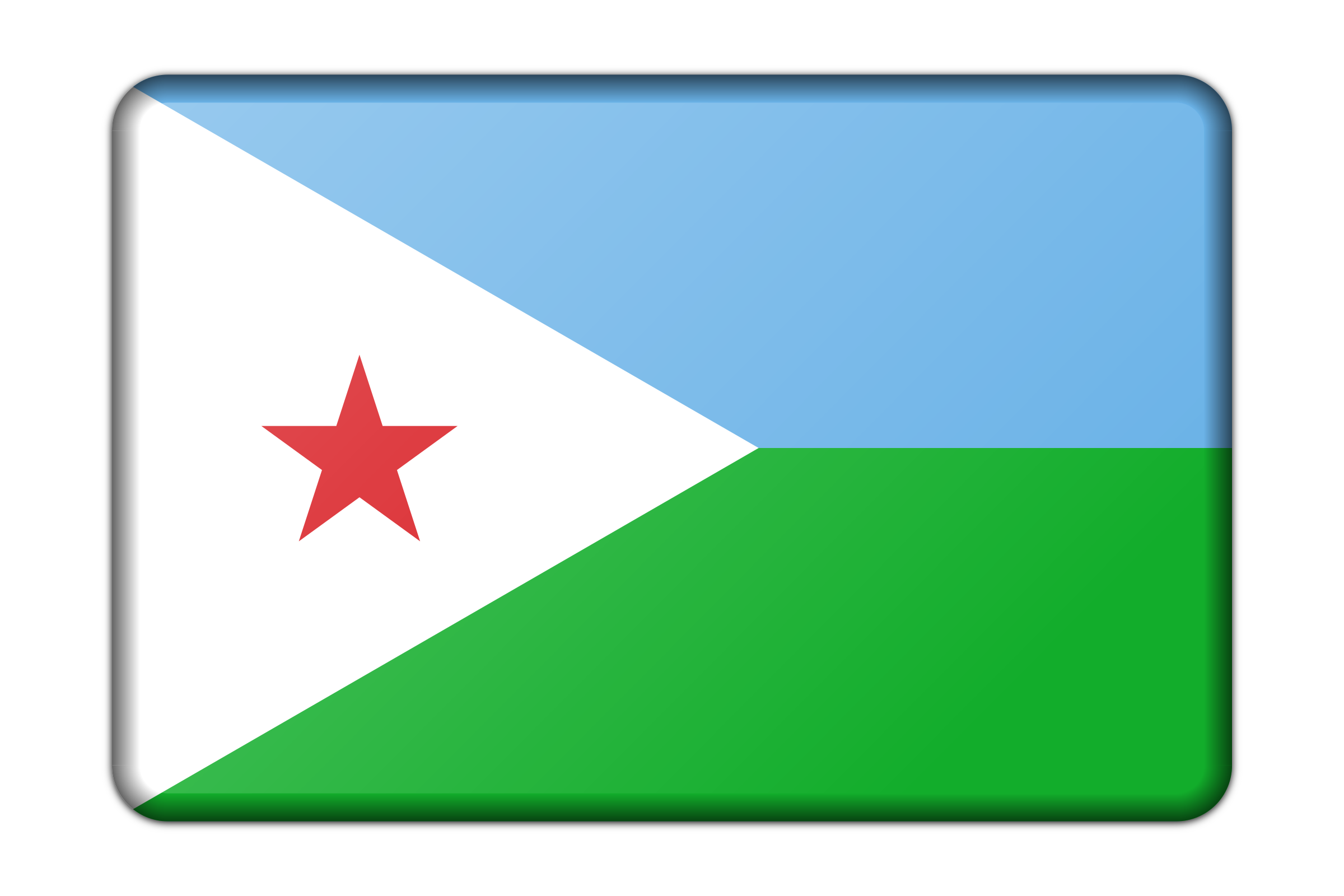 Djibouti flag (bevelled) by Firkin