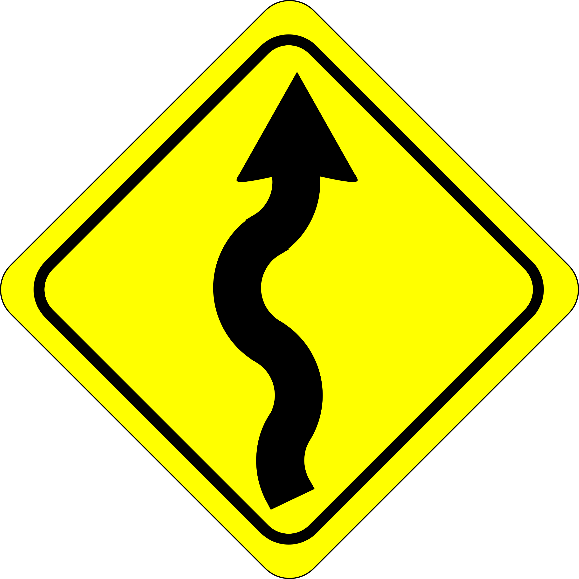 curves ahead sign by Anonymous