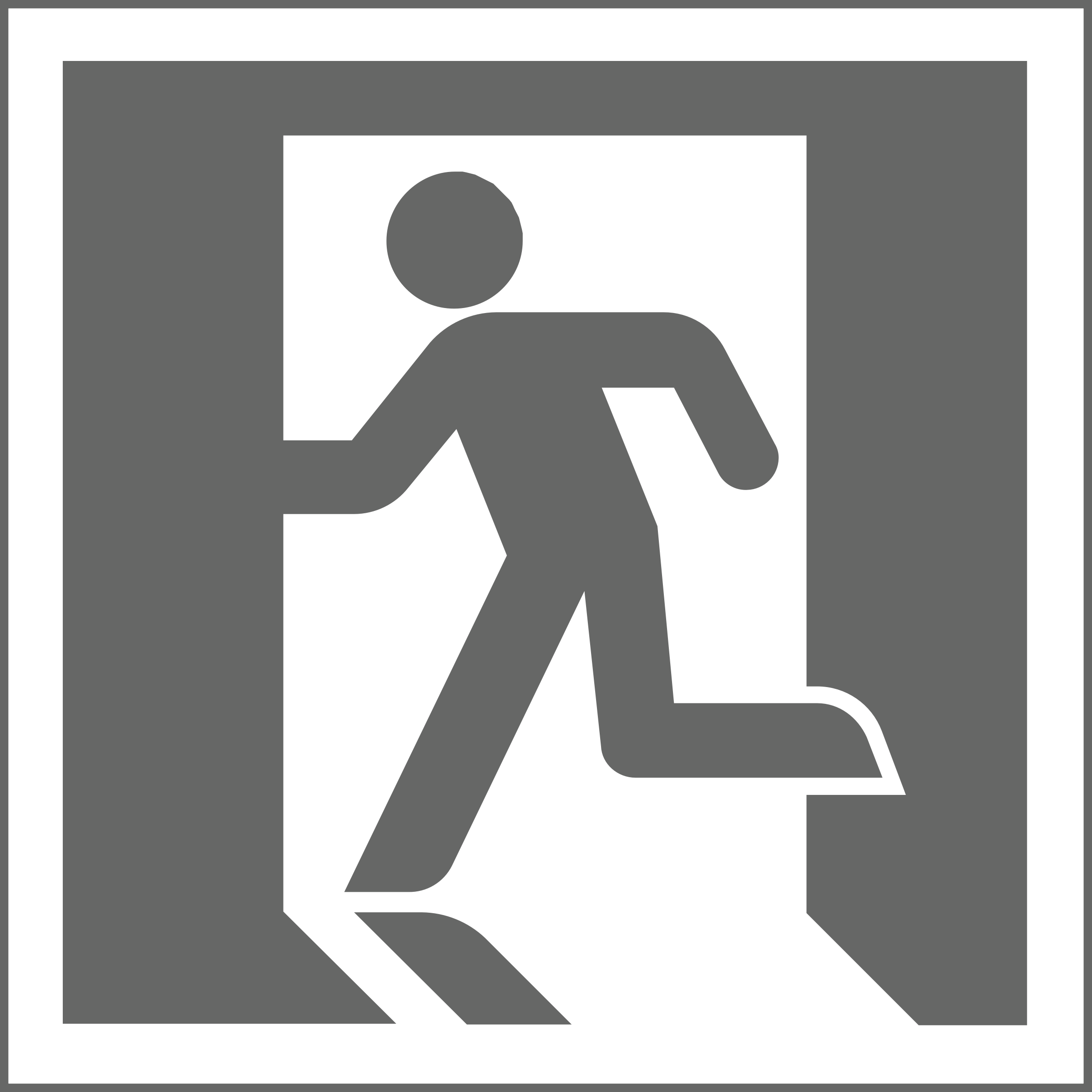 Icon: Grey on White Square - Variation of Yukio Ota's ISO Standard Japanese Exit Sign by mrjeremiahross