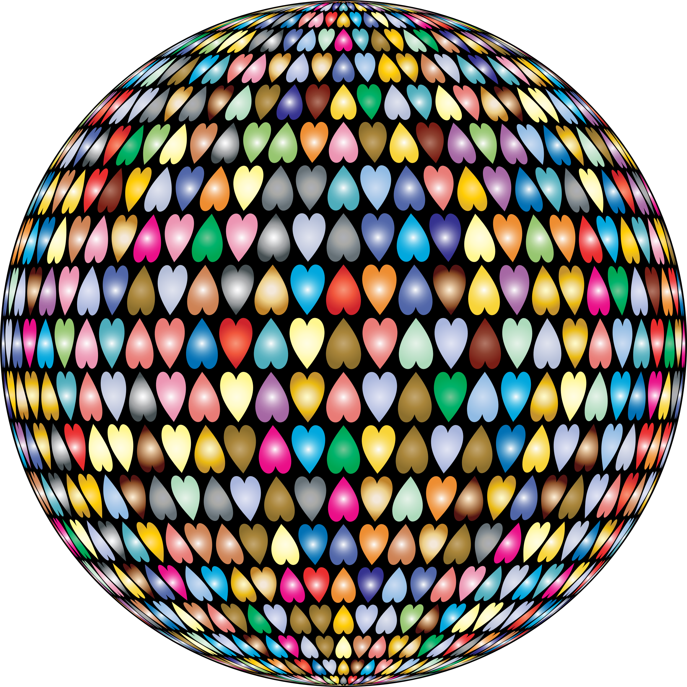 Prismatic Alternating Hearts Sphere 2 by GDJ
