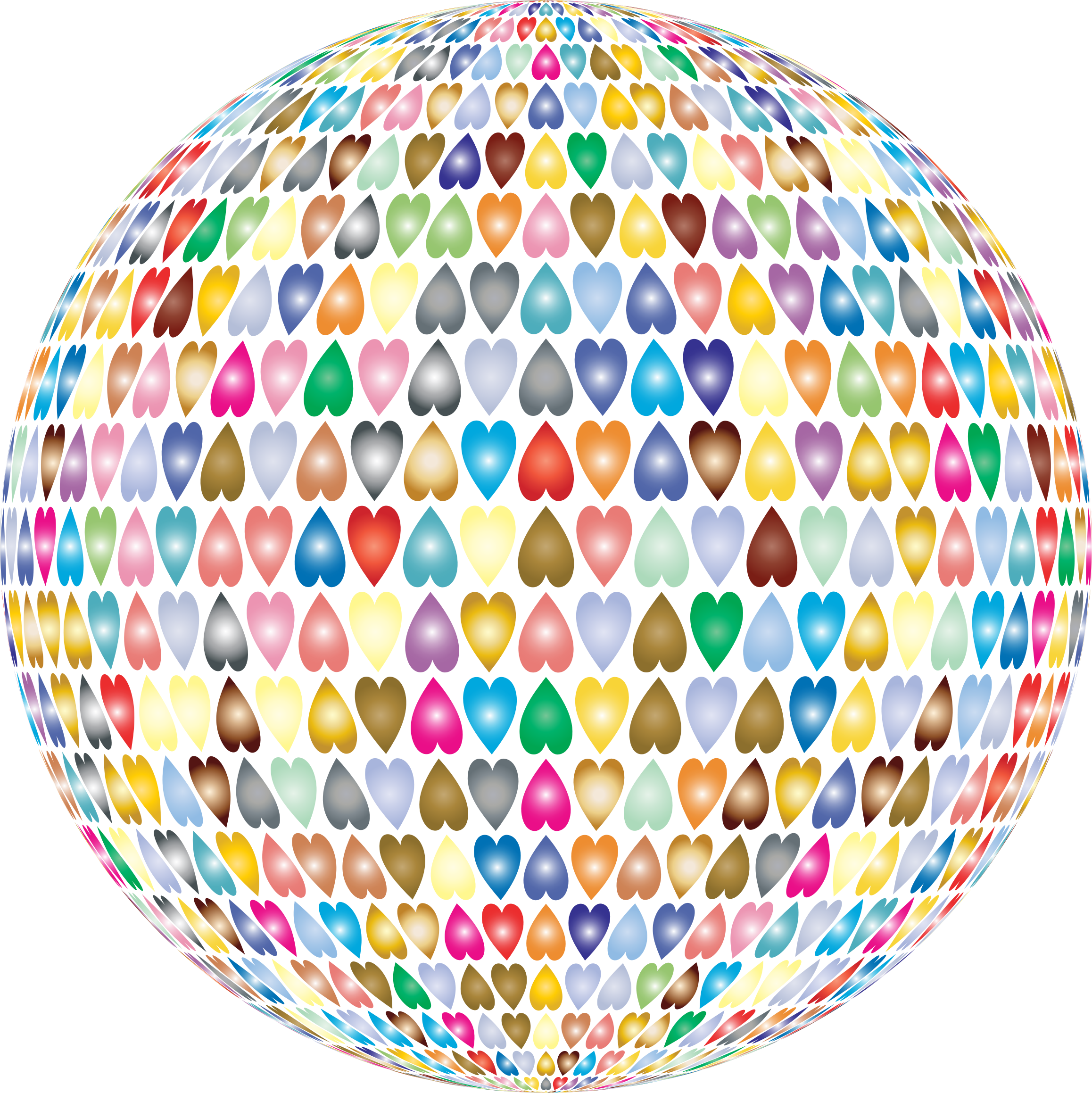 Prismatic Alternating Hearts Sphere 2 No Background by GDJ