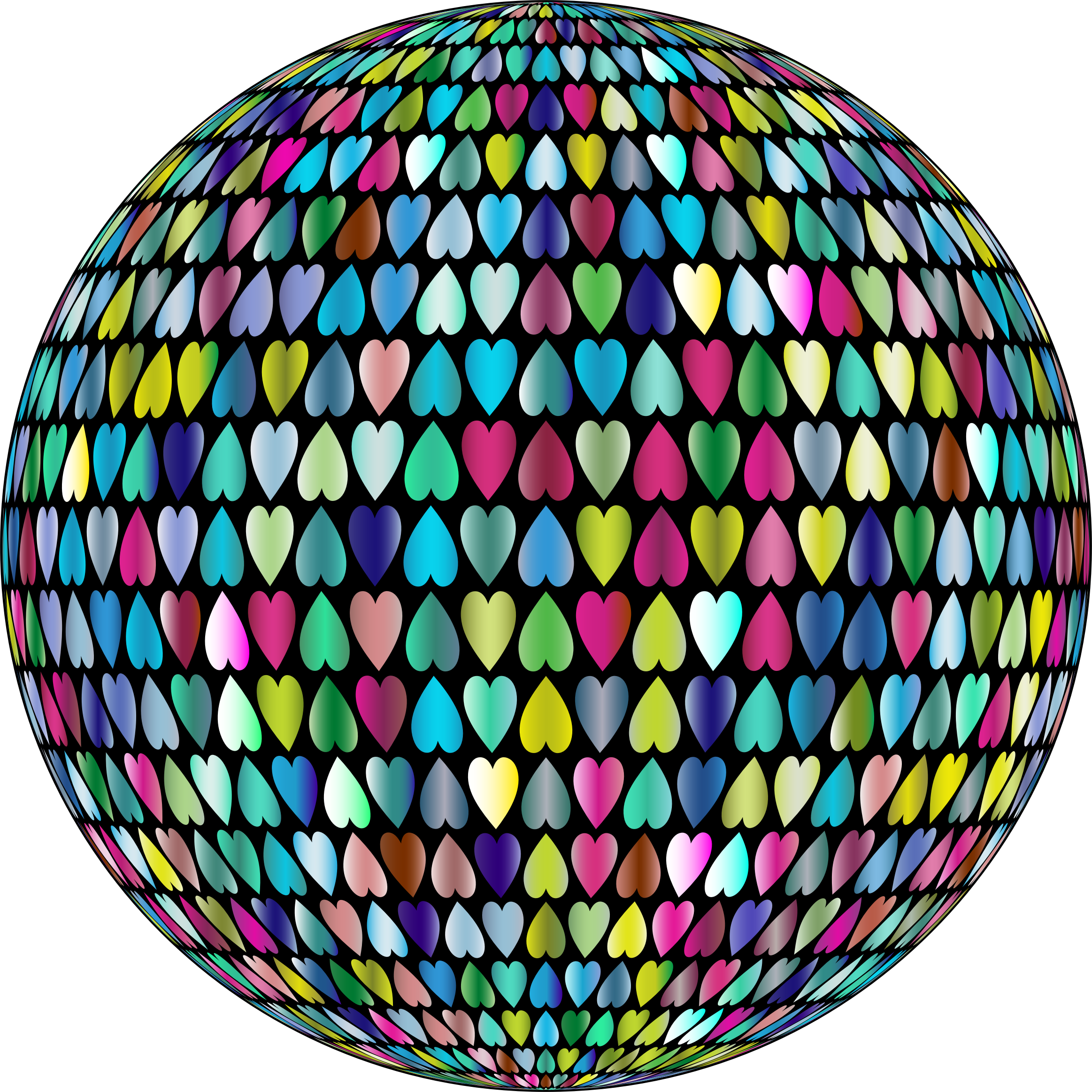 Prismatic Alternating Hearts Sphere 3 by GDJ