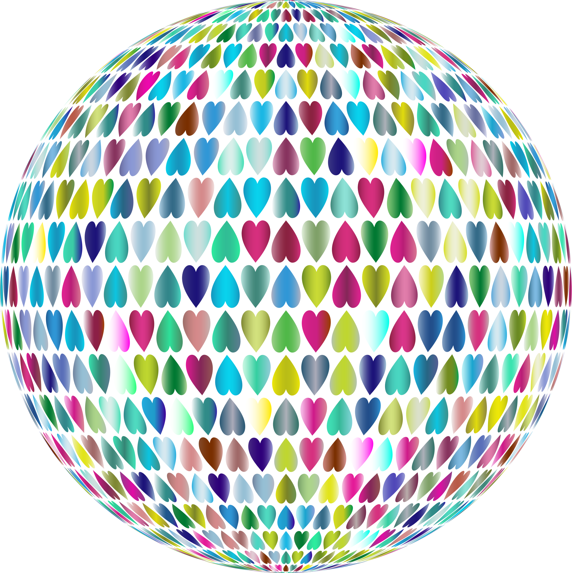 Prismatic Alternating Hearts Sphere 3 No Background by GDJ
