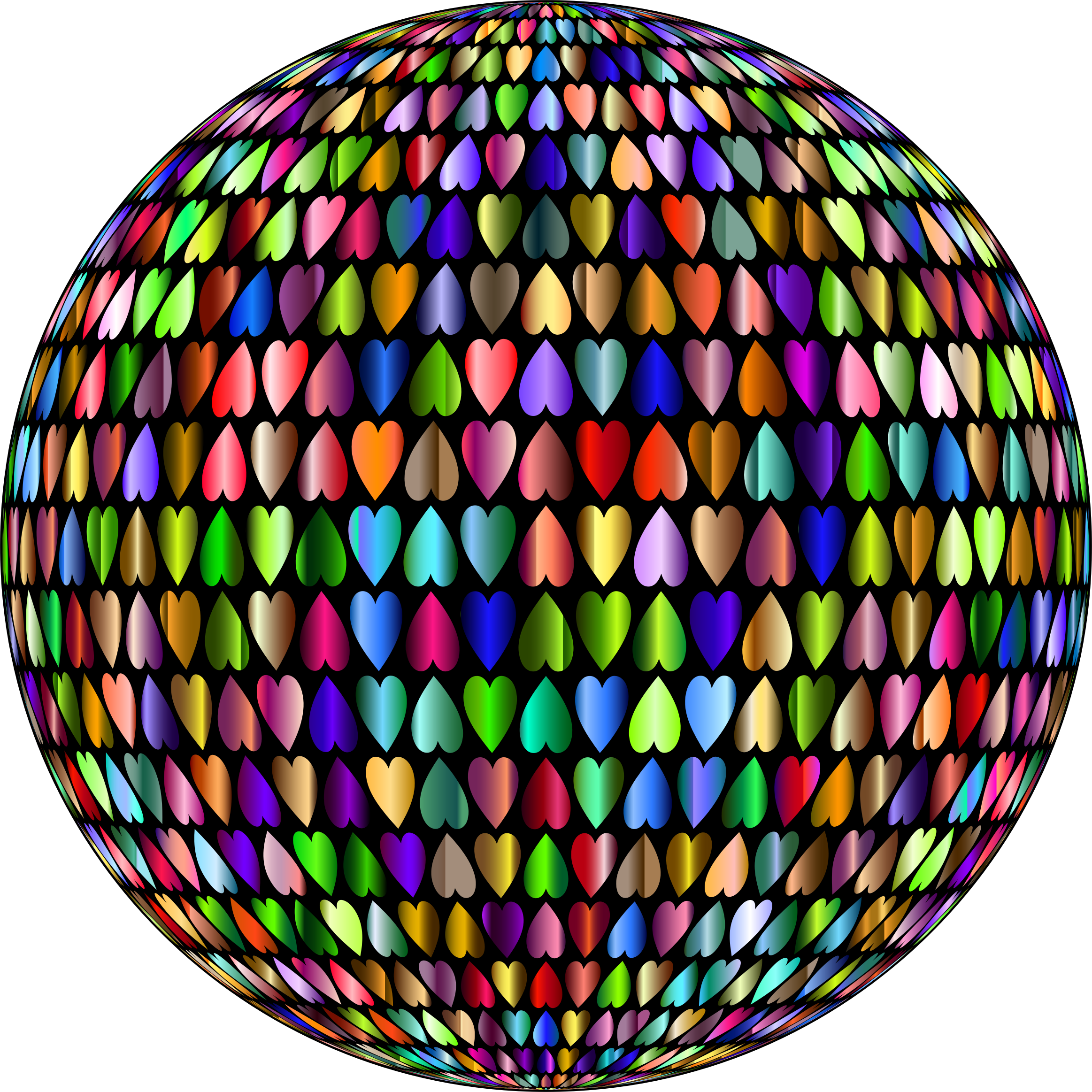 Prismatic Alternating Hearts Sphere 4 by GDJ