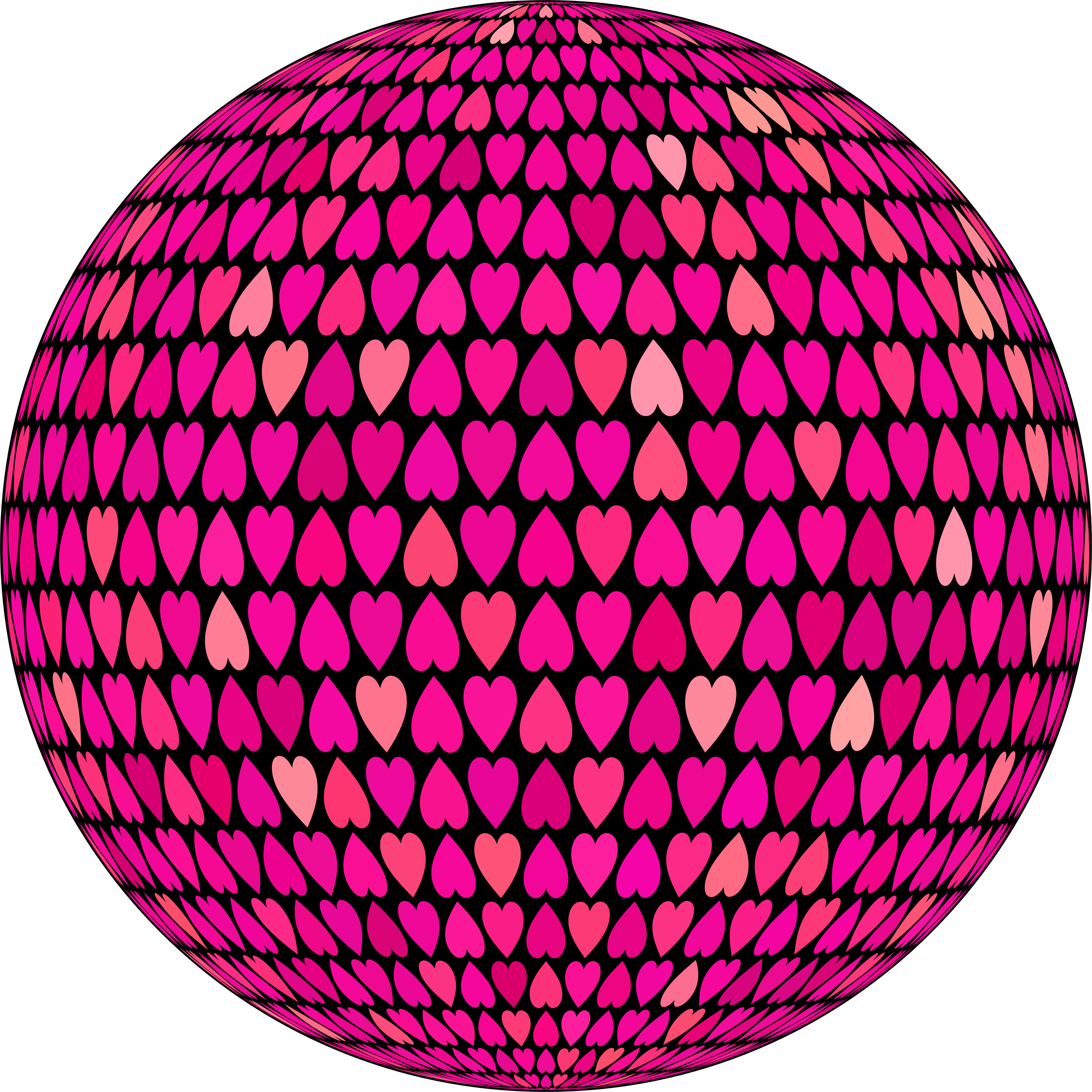 Prismatic Alternating Hearts Sphere 6 by GDJ