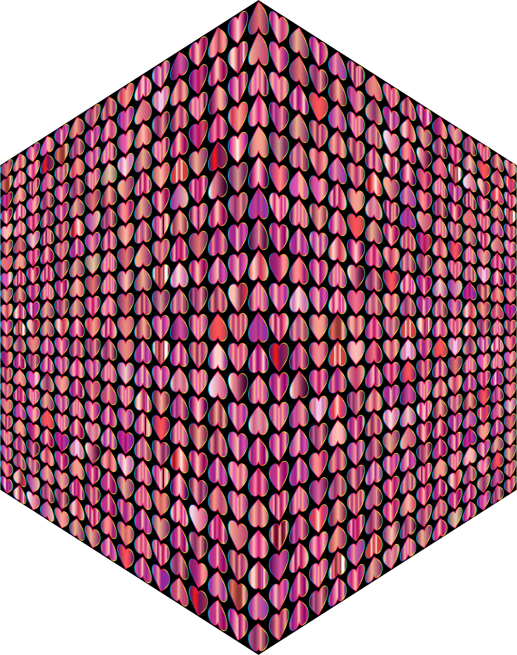 Prismatic Alternating Hearts Pattern Cube by GDJ