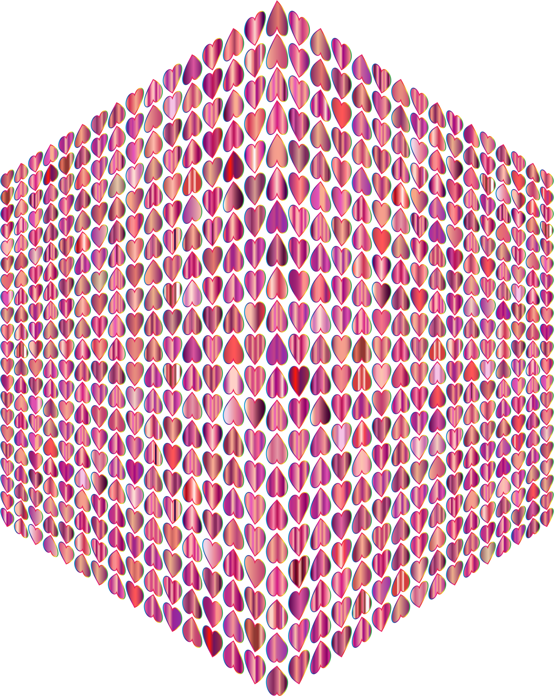 Prismatic Alternating Hearts Pattern Cube No Background by GDJ