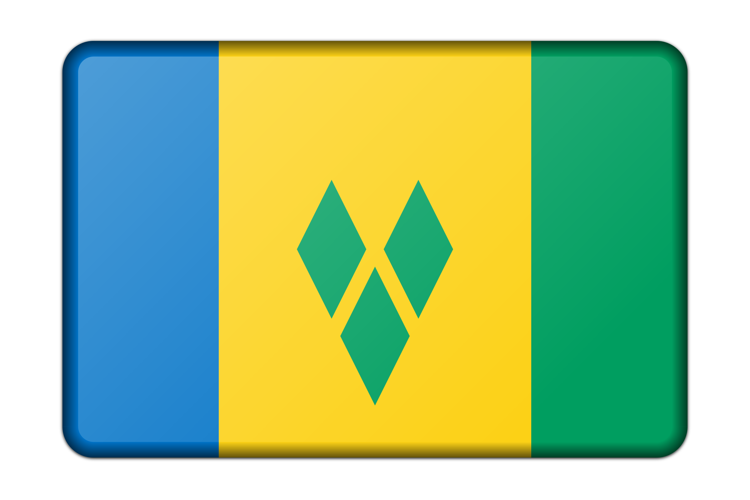 Saint Vincent and the Grenadines flag (bevelled) by Firkin