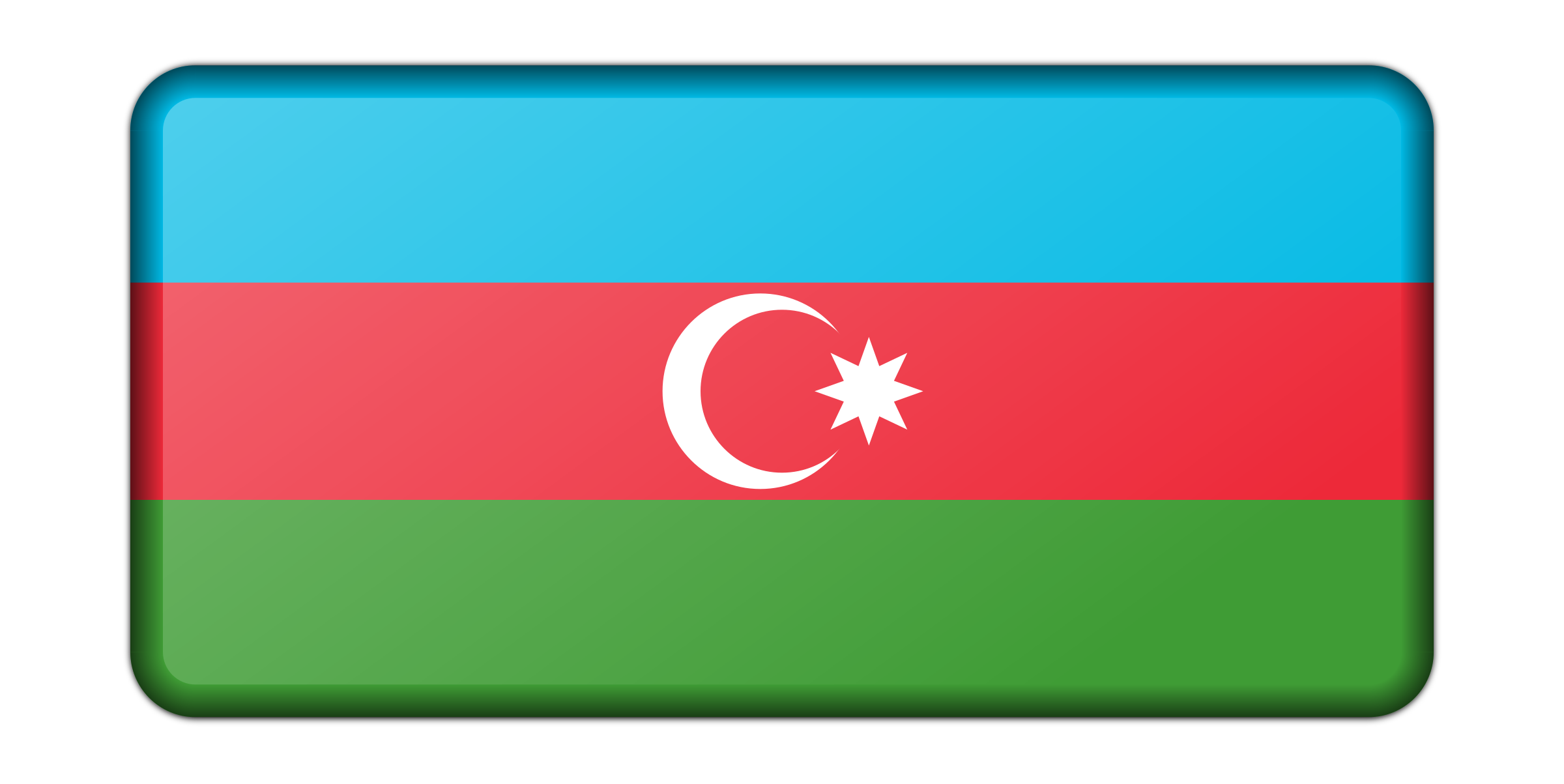 Azerbaijan flag (bevelled) by Firkin