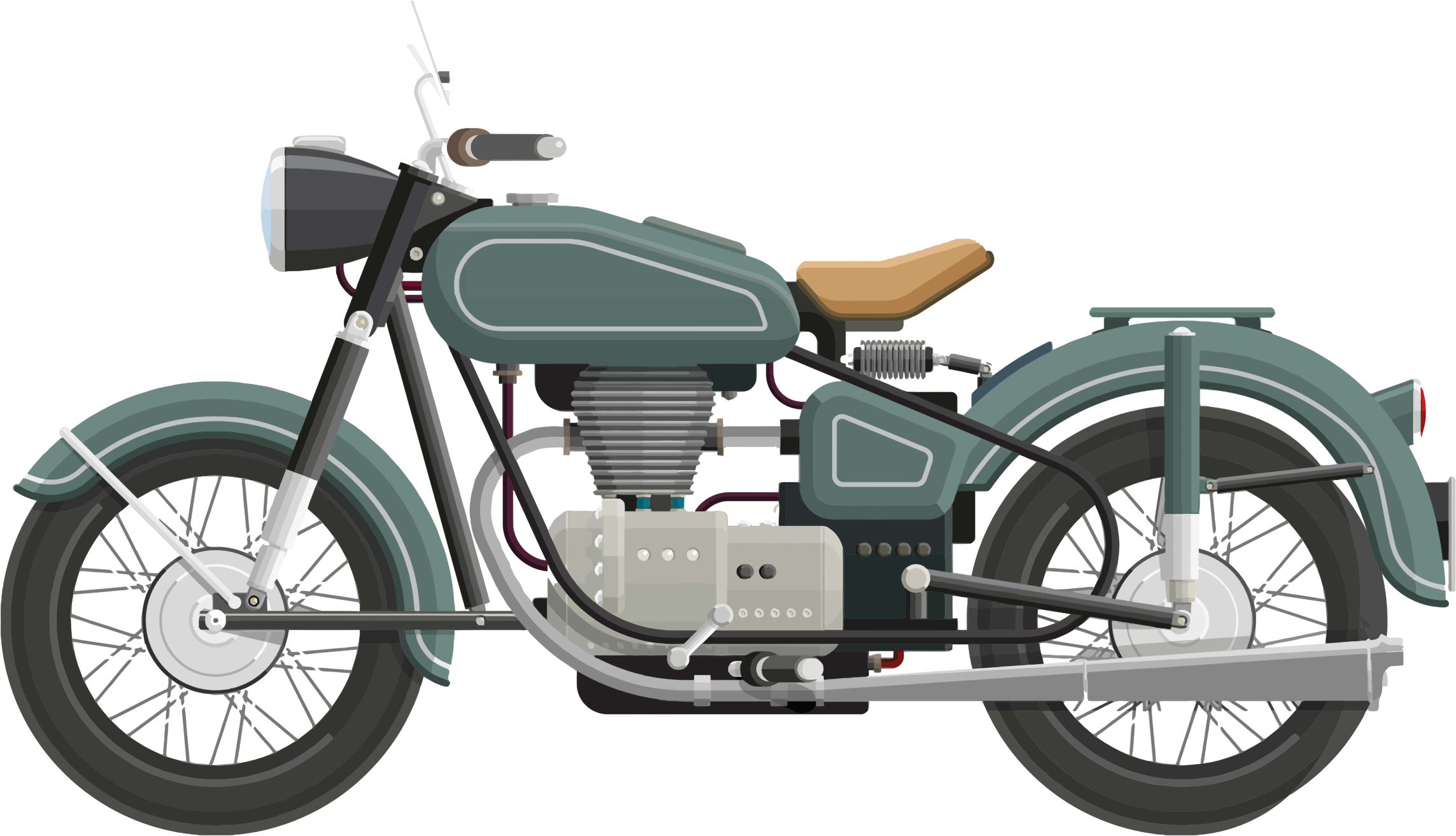 Flat Shaded Classic Motorcycle by GDJ
