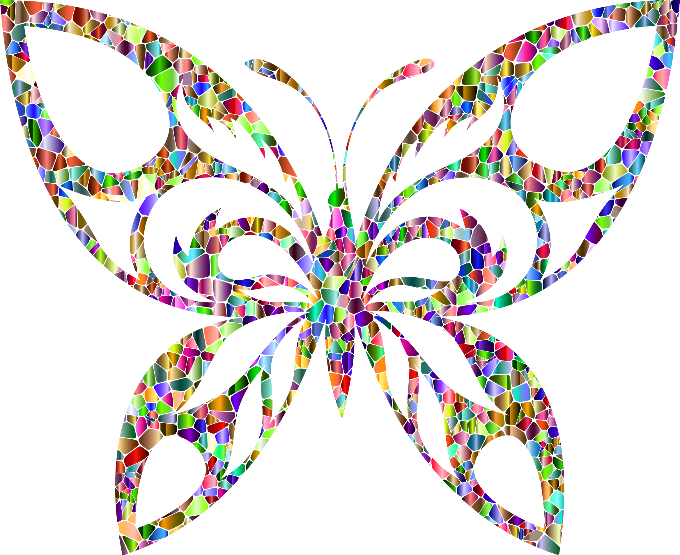 Vivid Polychromatic Tiled Tribal Butterfly Silhouette by GDJ