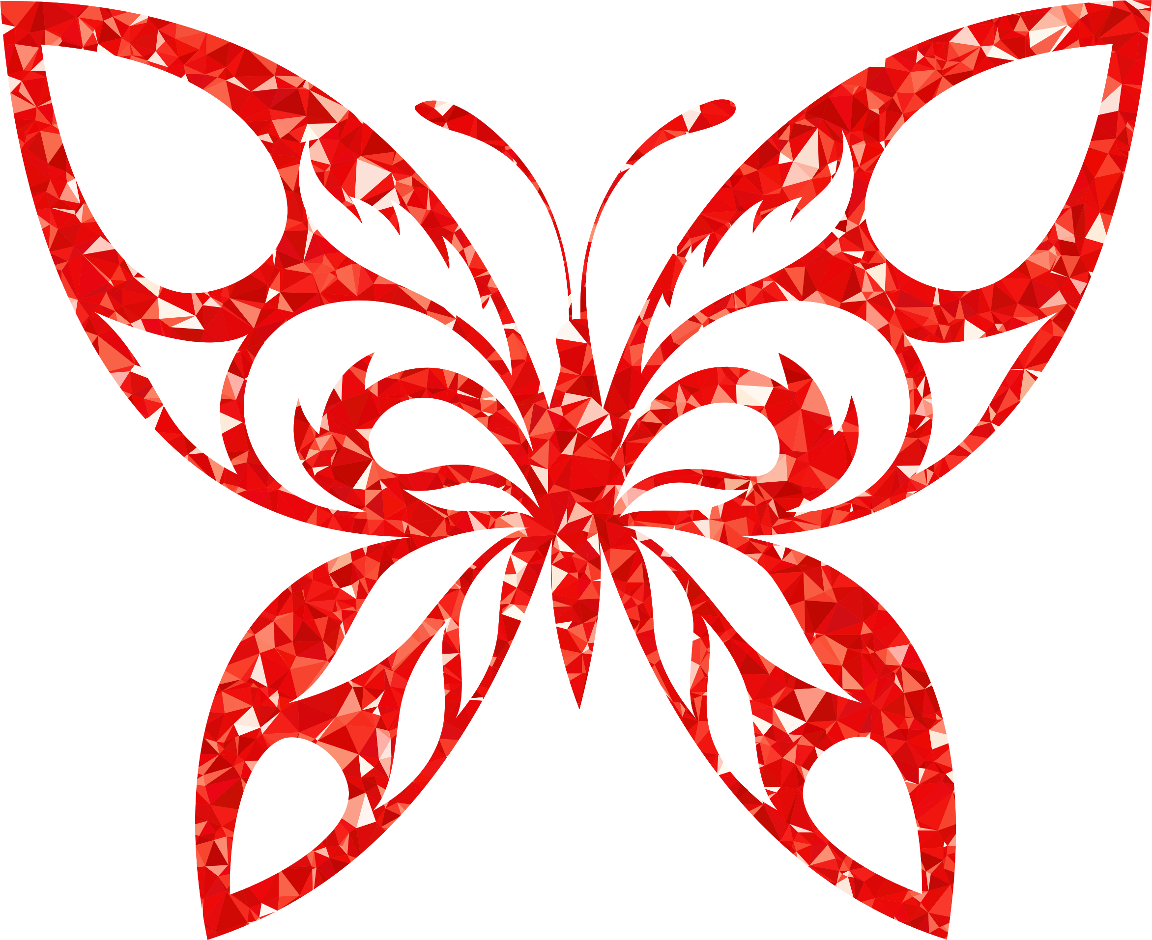 Ruby Tribal Butterfly Silhouette by GDJ