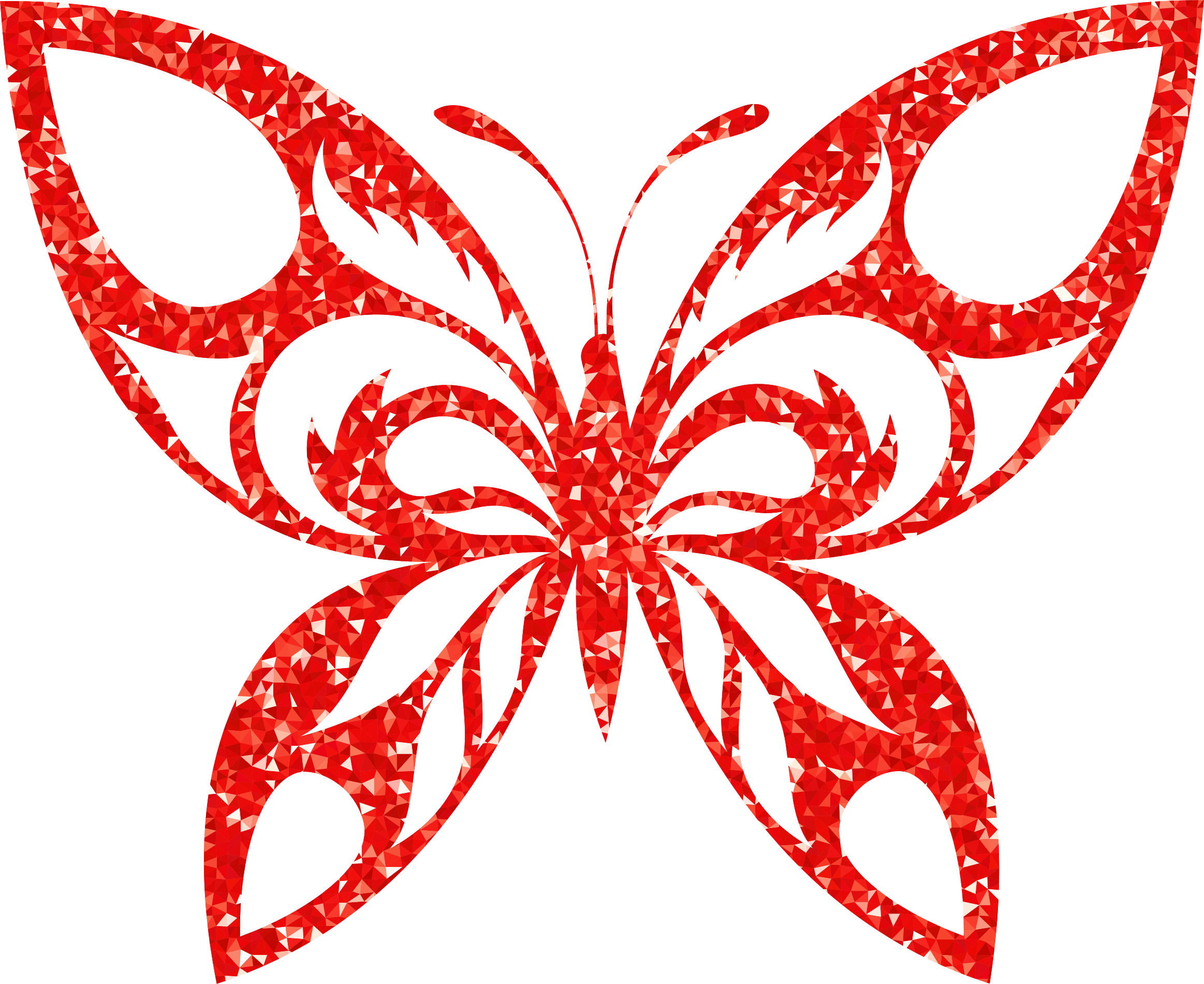 Ruby High Detail Tribal Butterfly Silhouette by GDJ