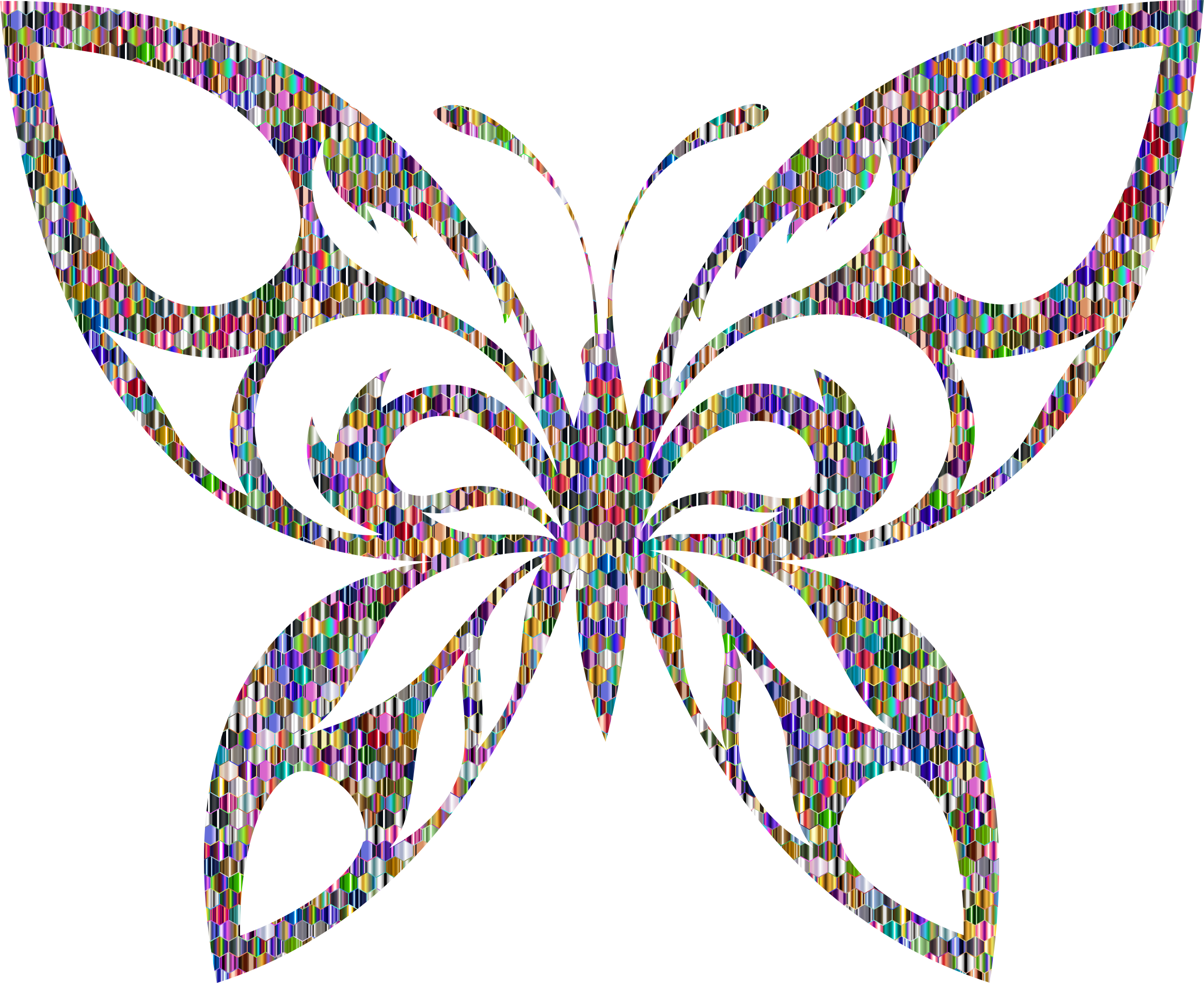 Reflective Iridescent Scales Tribal Butterfly Silhouette by GDJ
