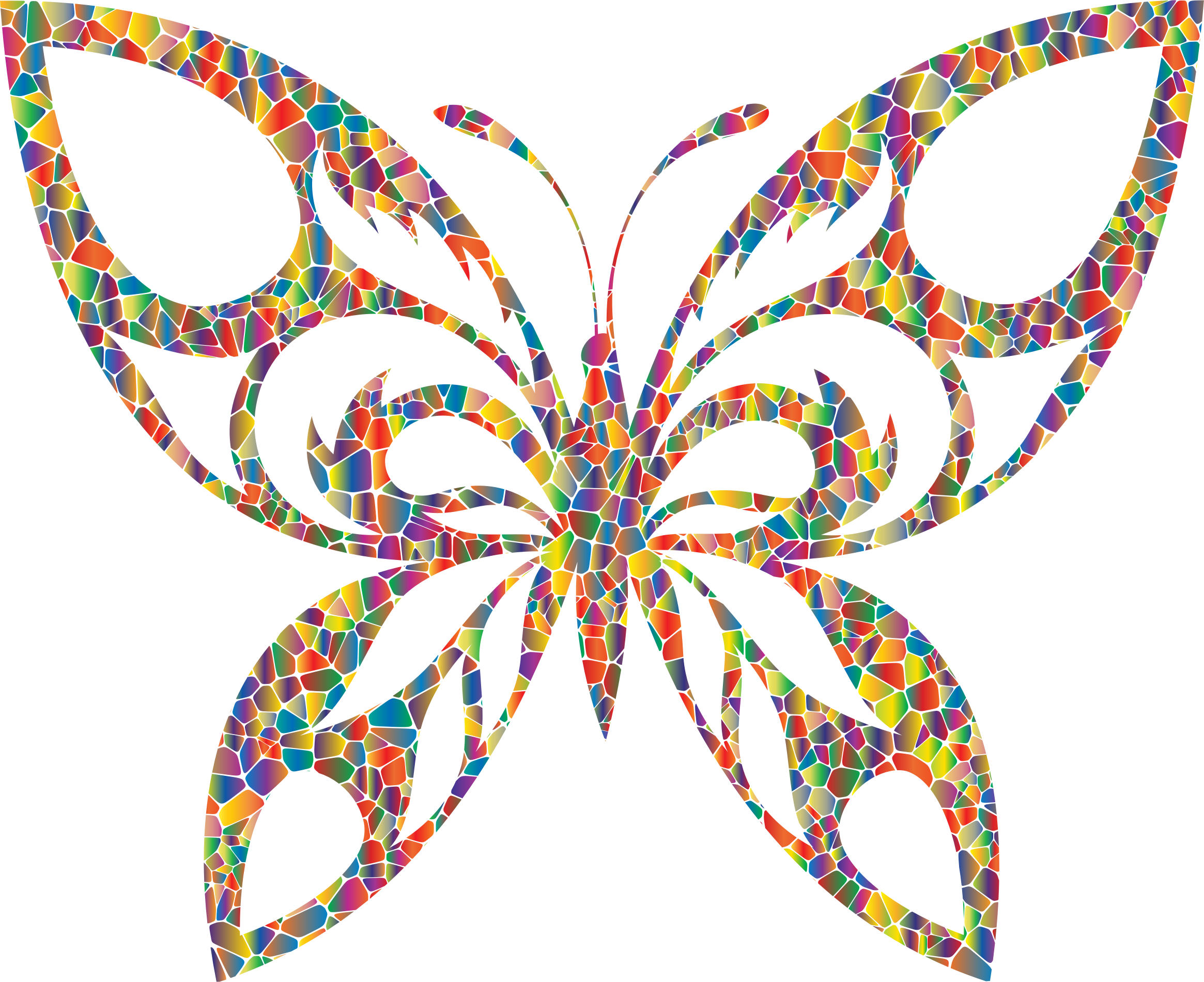 Polyprismatic Tiled Tribal Butterfly Silhouette by GDJ