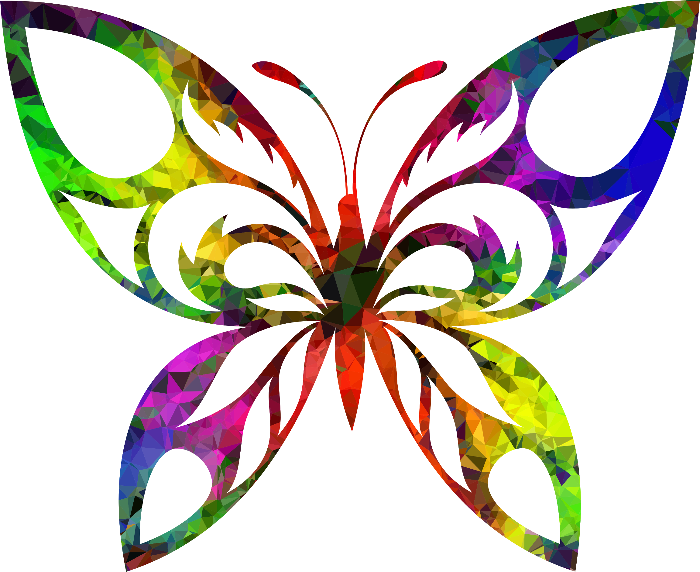 Multispectral Tribal Butterfly Silhouette by GDJ