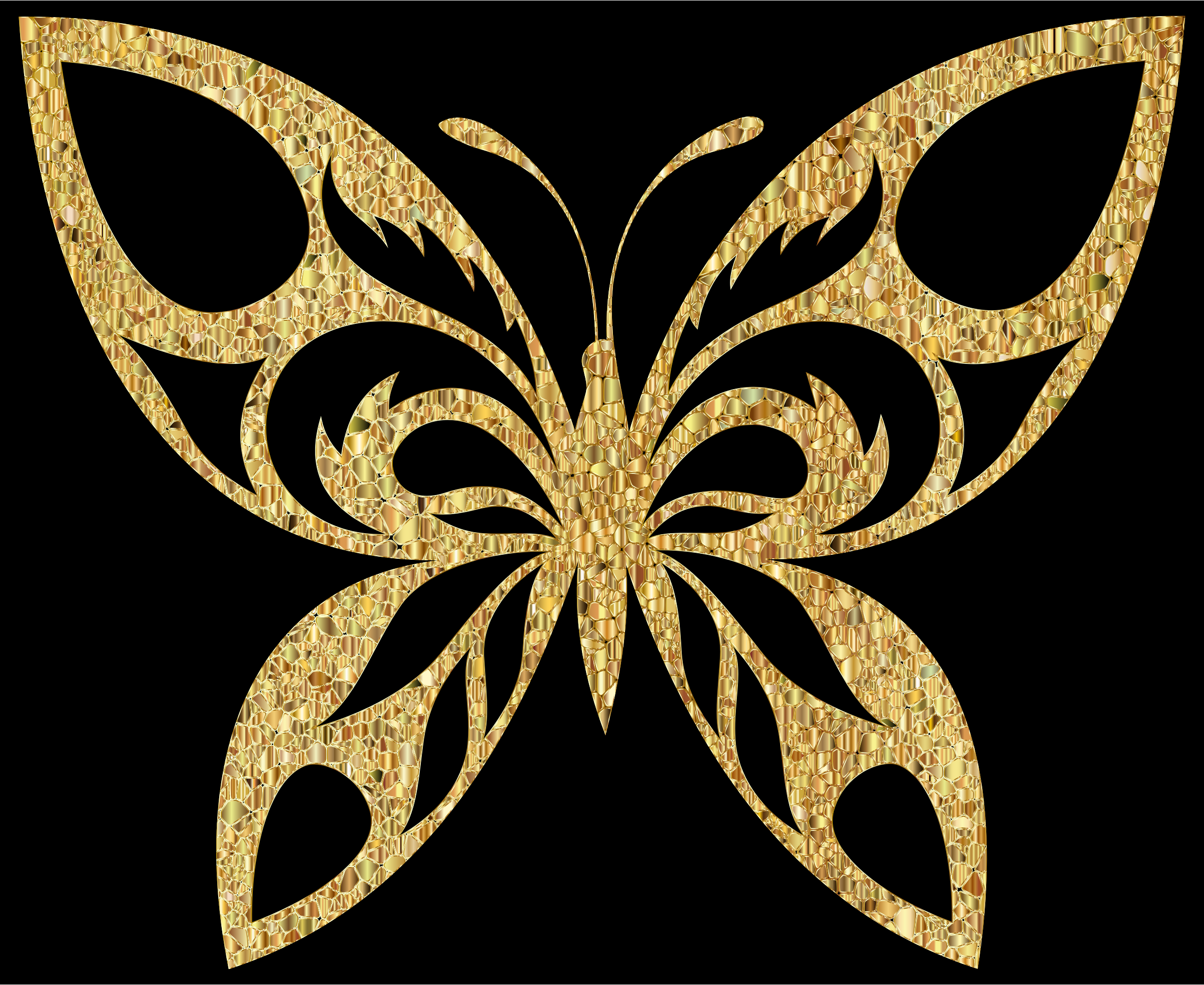 Clipart - Gold Tiled Tribal Butterfly Silhouette Variation 2