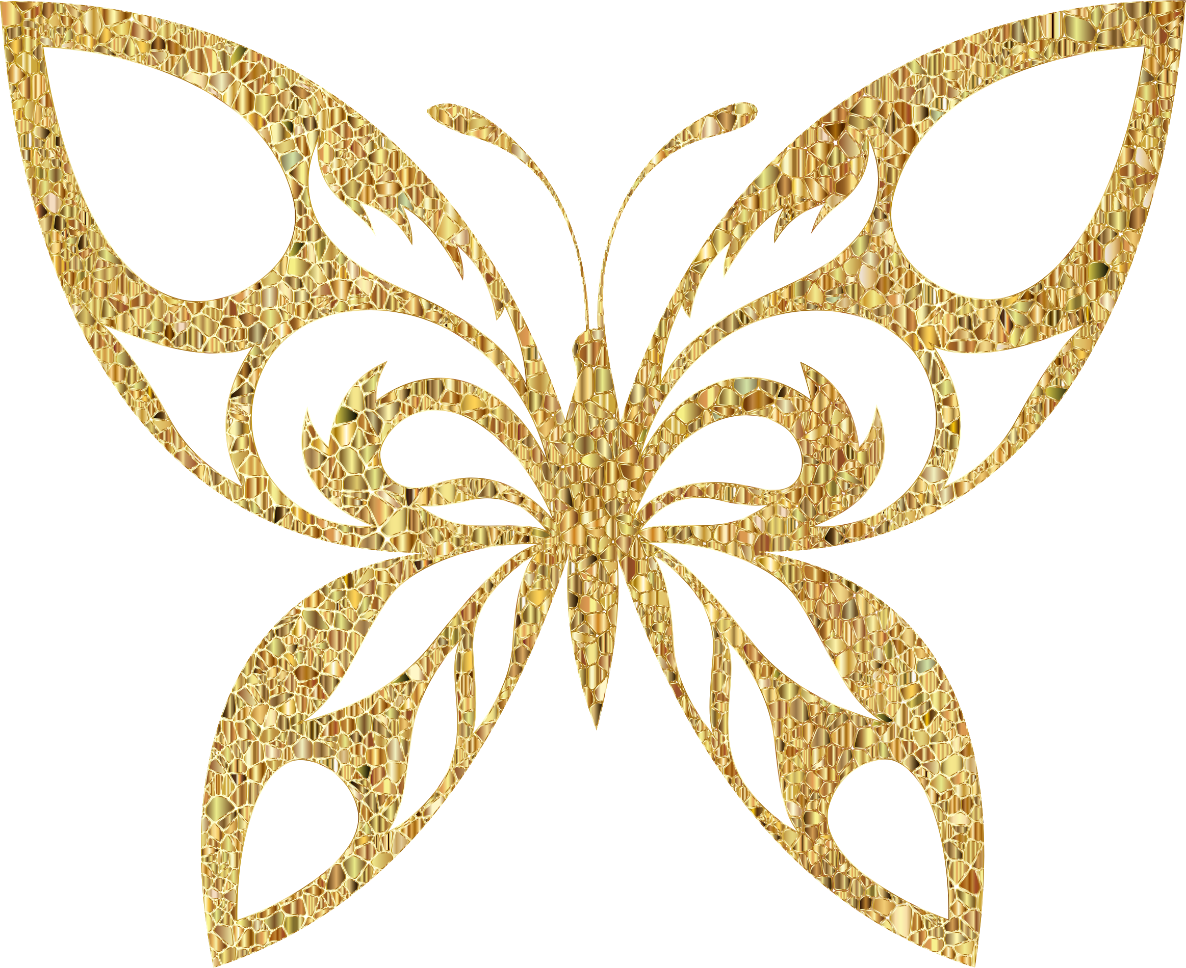 Gold Tiled Tribal Butterfly Silhouette Variation 2 No Background by GDJ
