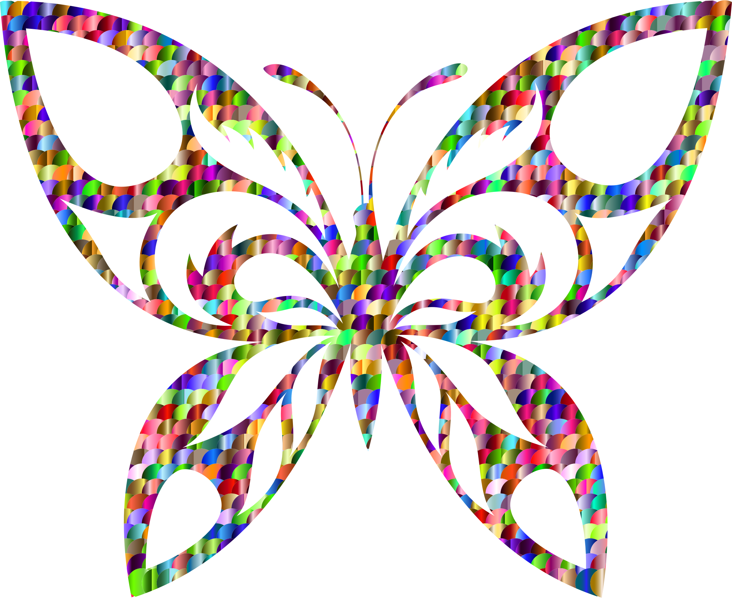 Chromatic Scales Tribal Butterfly Silhouette by GDJ