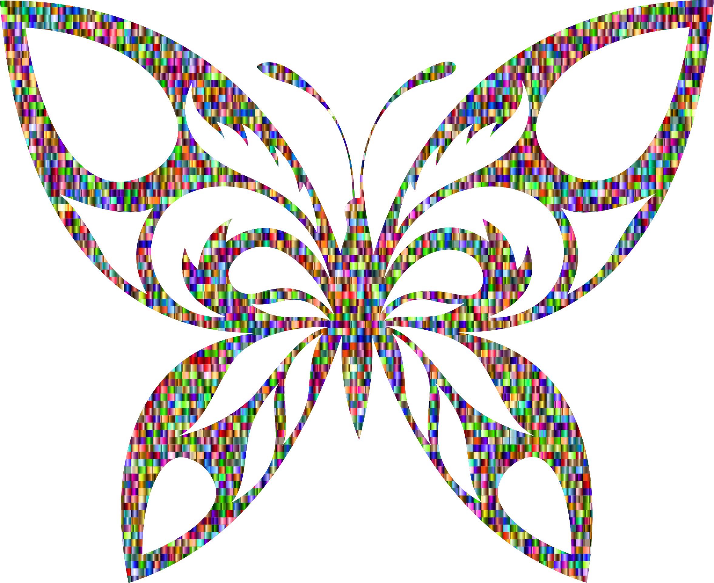 Chromatic Confetti Tribal Butterfly Silhouette by GDJ