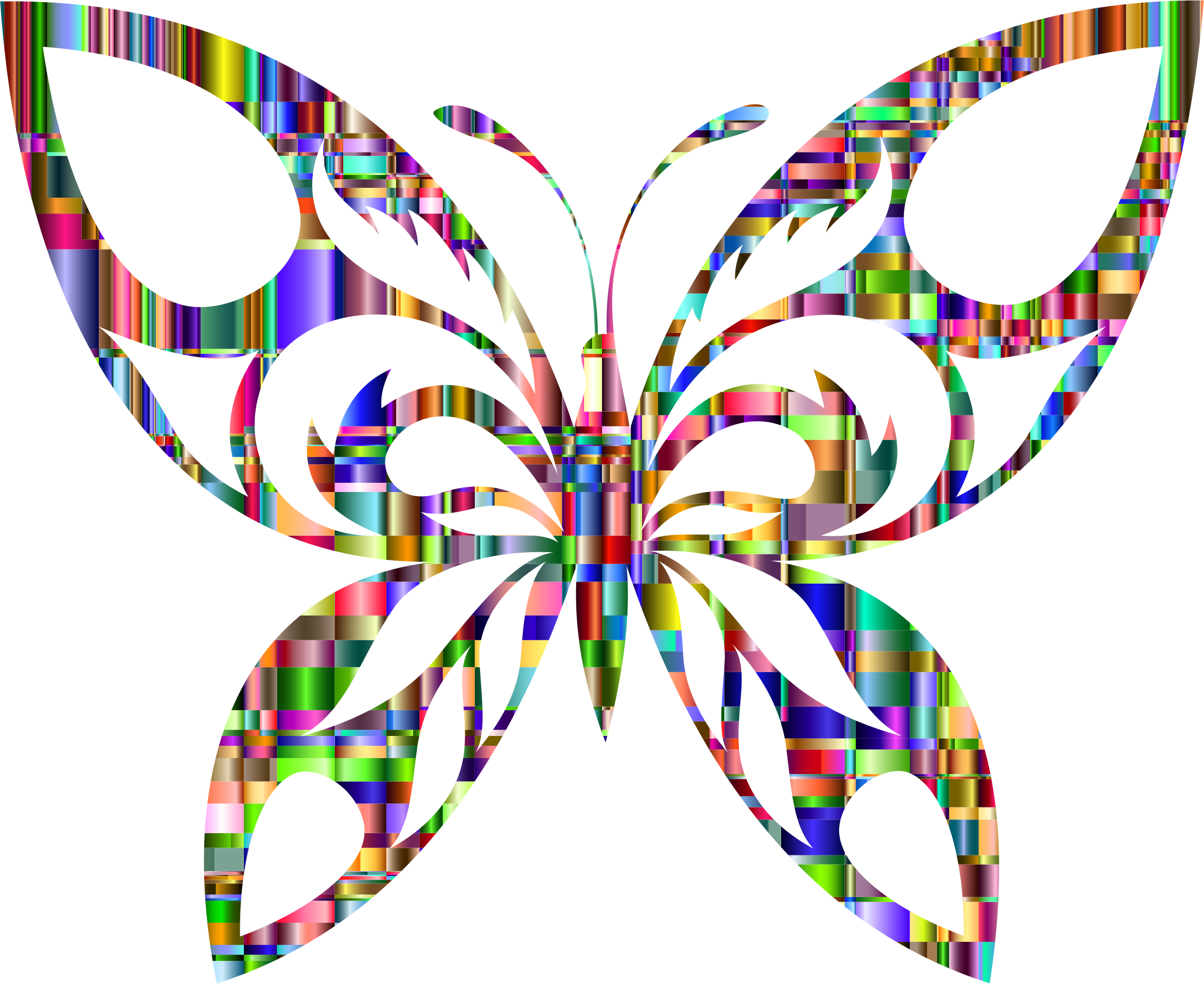 Chromatic Checkered Tribal Butterfly Silhouette by GDJ