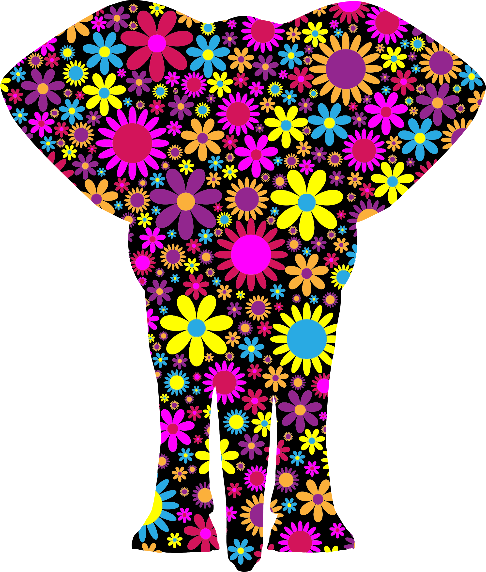 Floralific Pattern Elephant Silhouette by GDJ