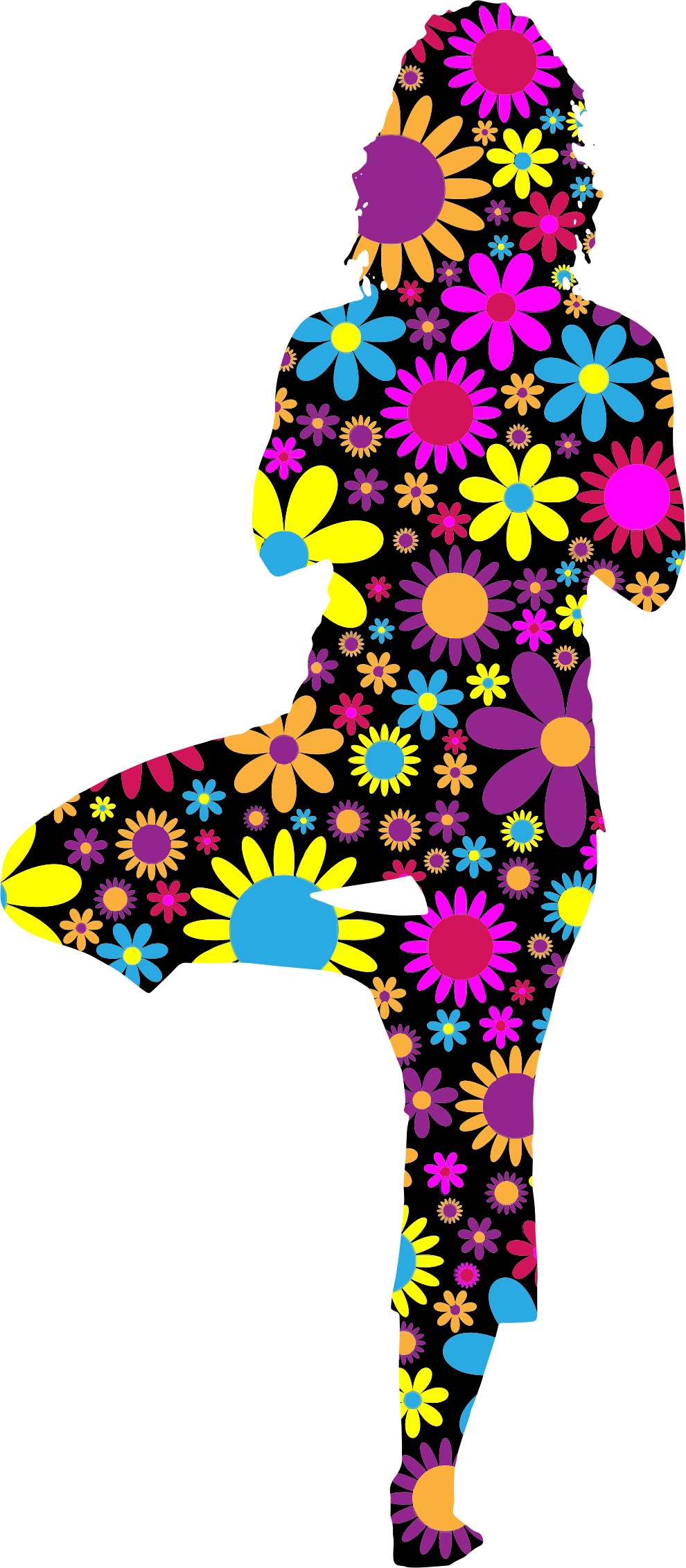 Floral Woman Yoga Pose Silhouette by GDJ