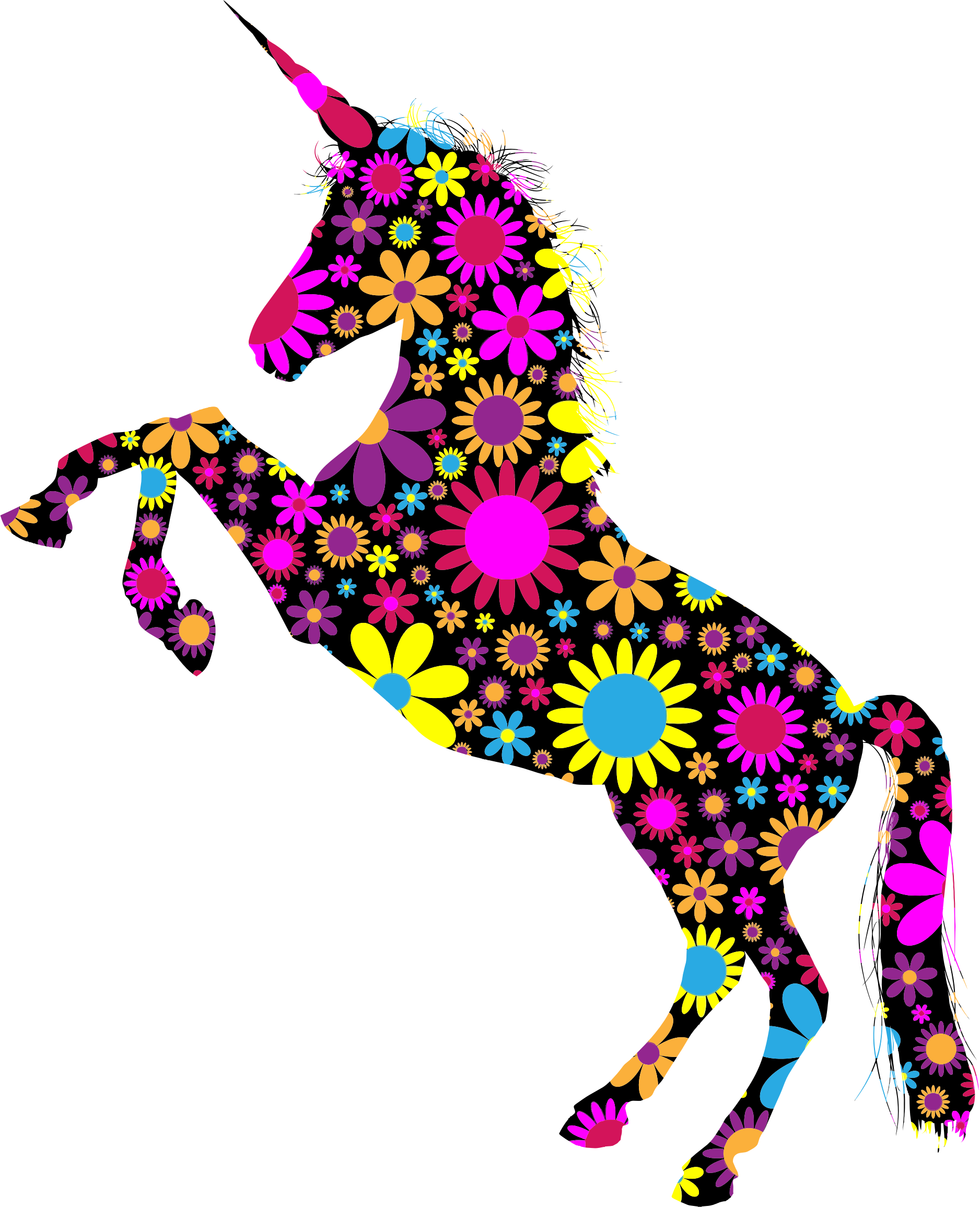 Floral Unicorn Silhouette by GDJ