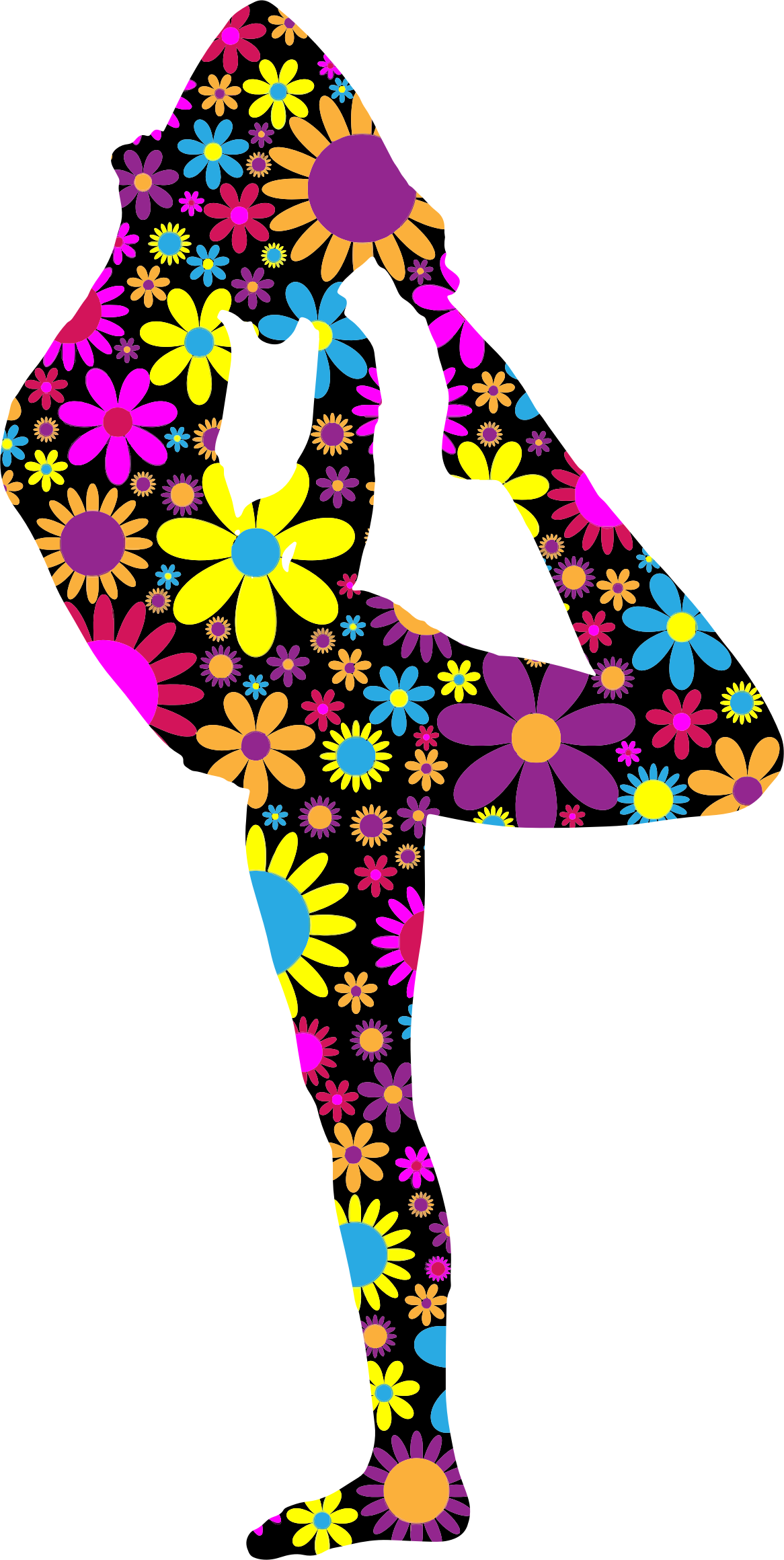 Floral Female Yoga Pose Silhouette 3 by GDJ